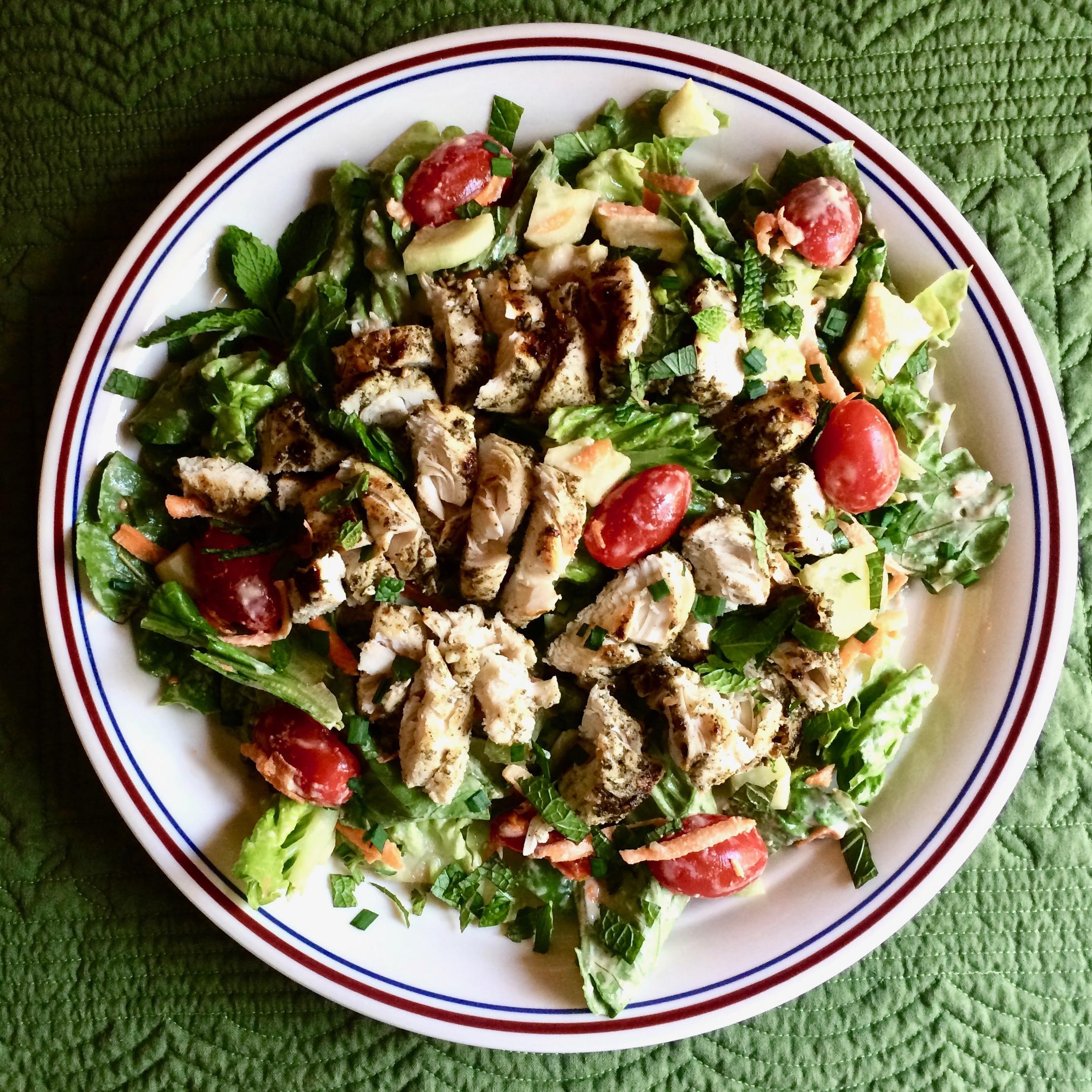 Za'atar Chicken Salad with Lemon-Tahini Dressing