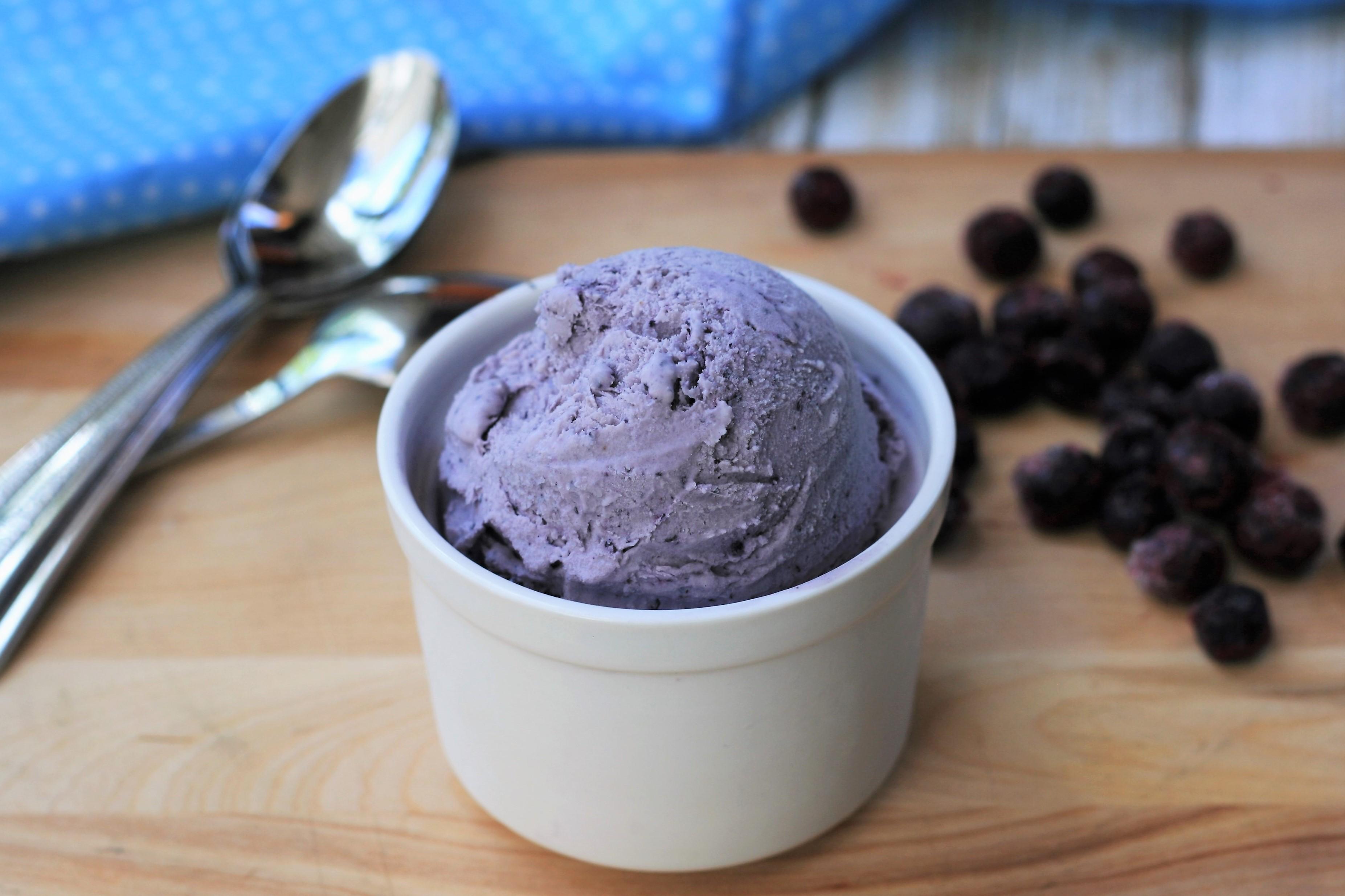 Keto No-Churn Blueberry-Maple Ice Cream