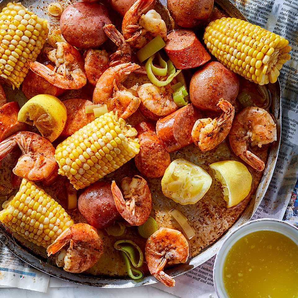 This quick shrimp boil recipe packs all the fun of a beach-party meal into an easy weeknight dinner. Chicken sausage cuts calories and the leek adds extra veggies.