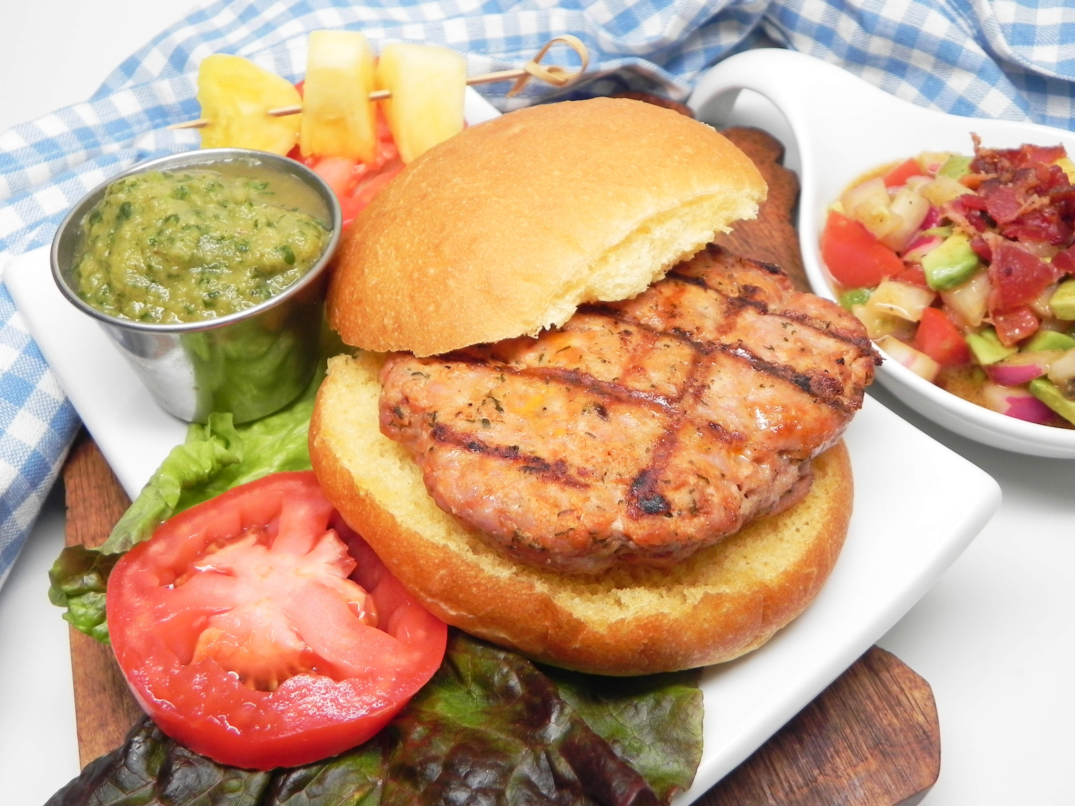Grilled Pork Burgers with Pineapple Salsa image