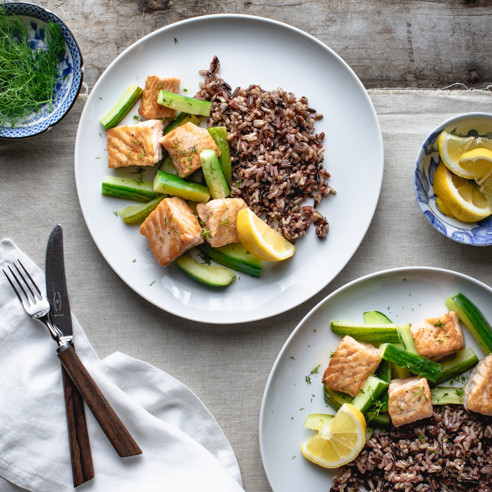 Seared first to add color and flavor, the salmon is then combined with braised cucumbers—an unexpected yet delicious way to enjoy that vegetable's subtle taste.
