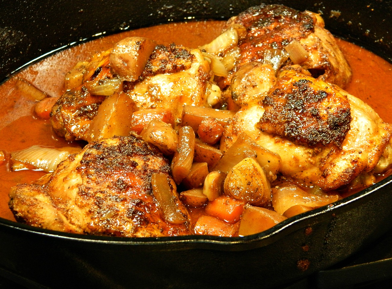 Cast Iron Honey-Sriracha Glazed Chicken with Roasted Root Vegetables Marianne