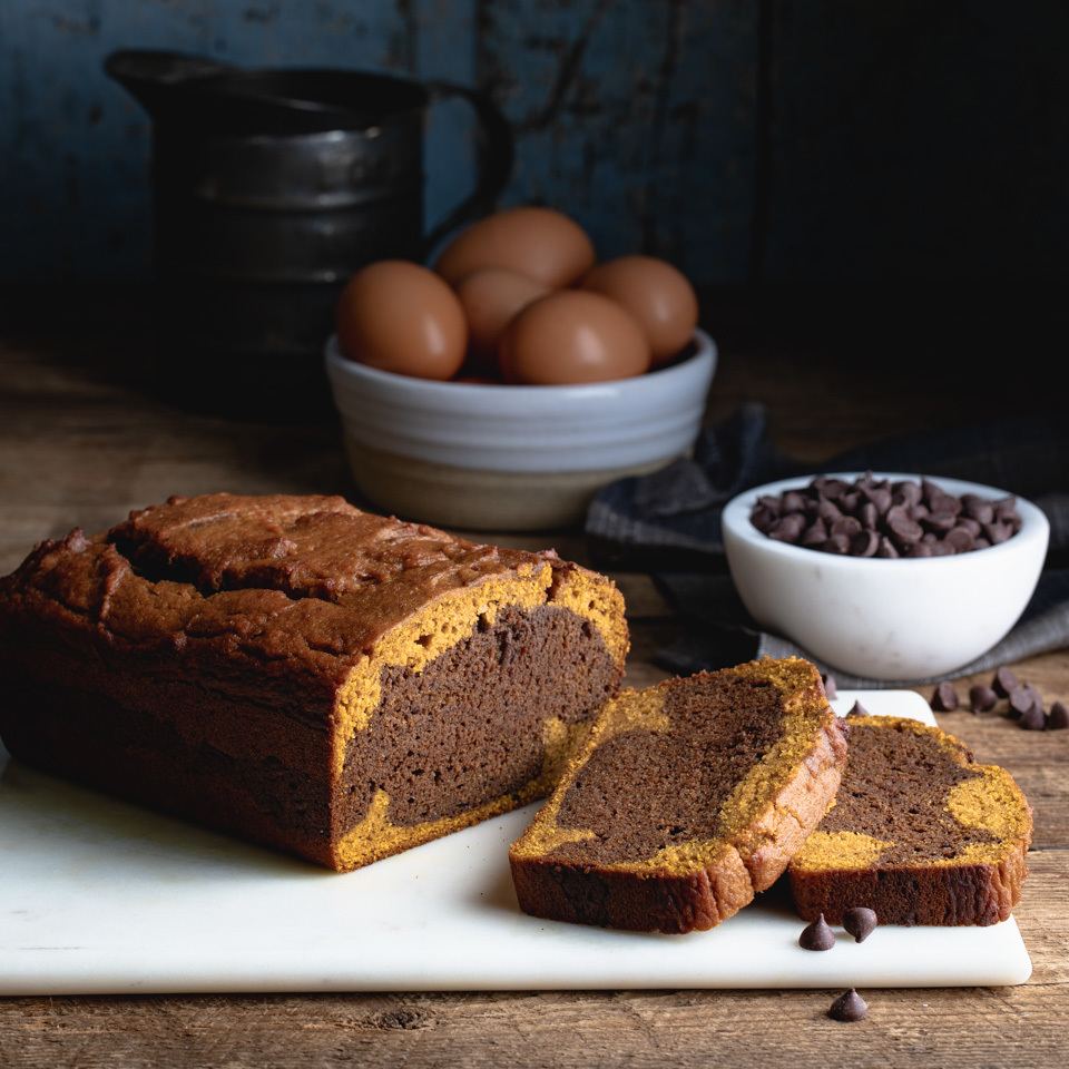 Layers of pumpkin and chocolate batter swirl together to make this equally beautiful and delicious quick bread. A big bonus: you'll use a whole can of pumpkin, so no leftover bits to worry about when making this healthy pumpkin bread.
