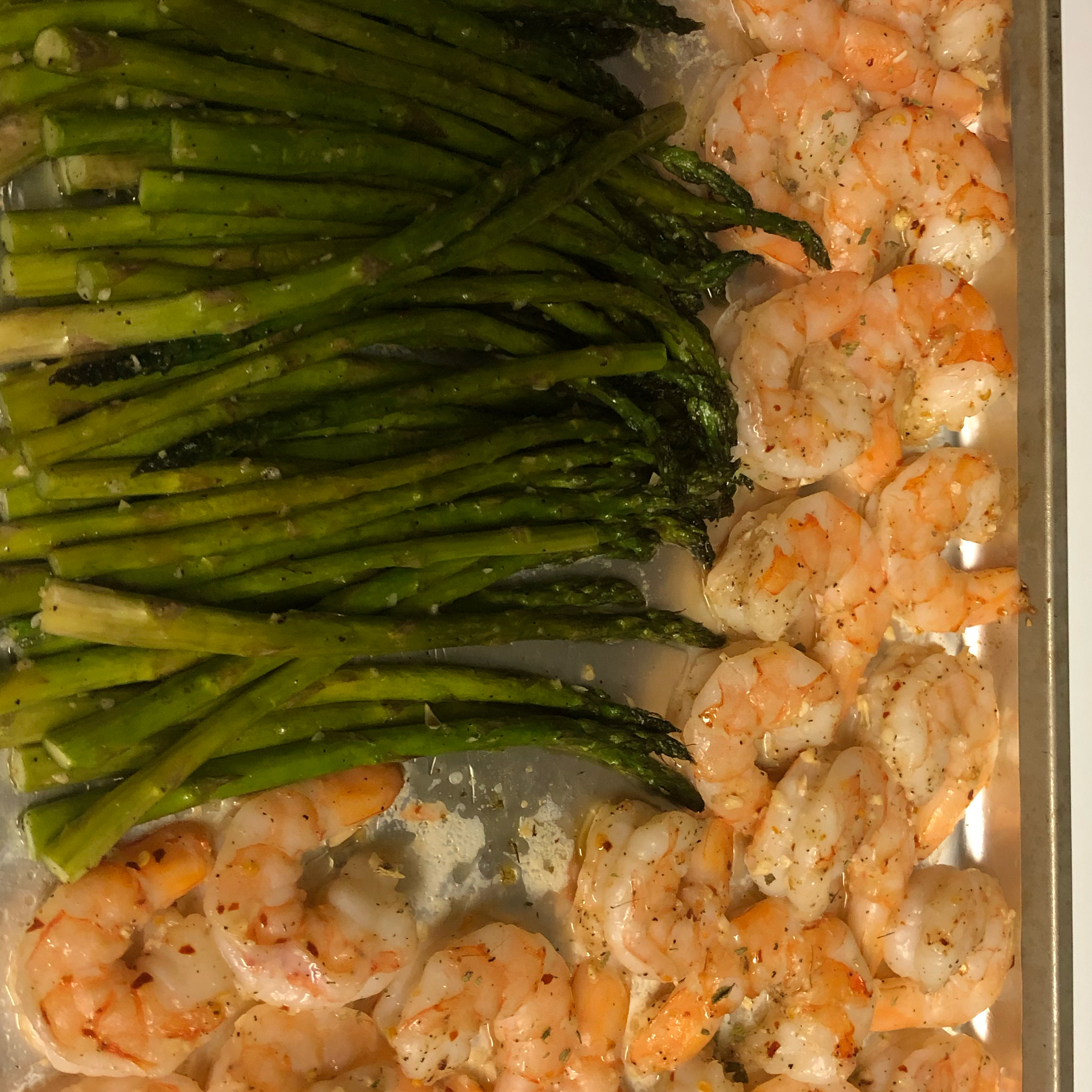 Sheet Pan Lemon Butter Garlic Shrimp with Asparagus