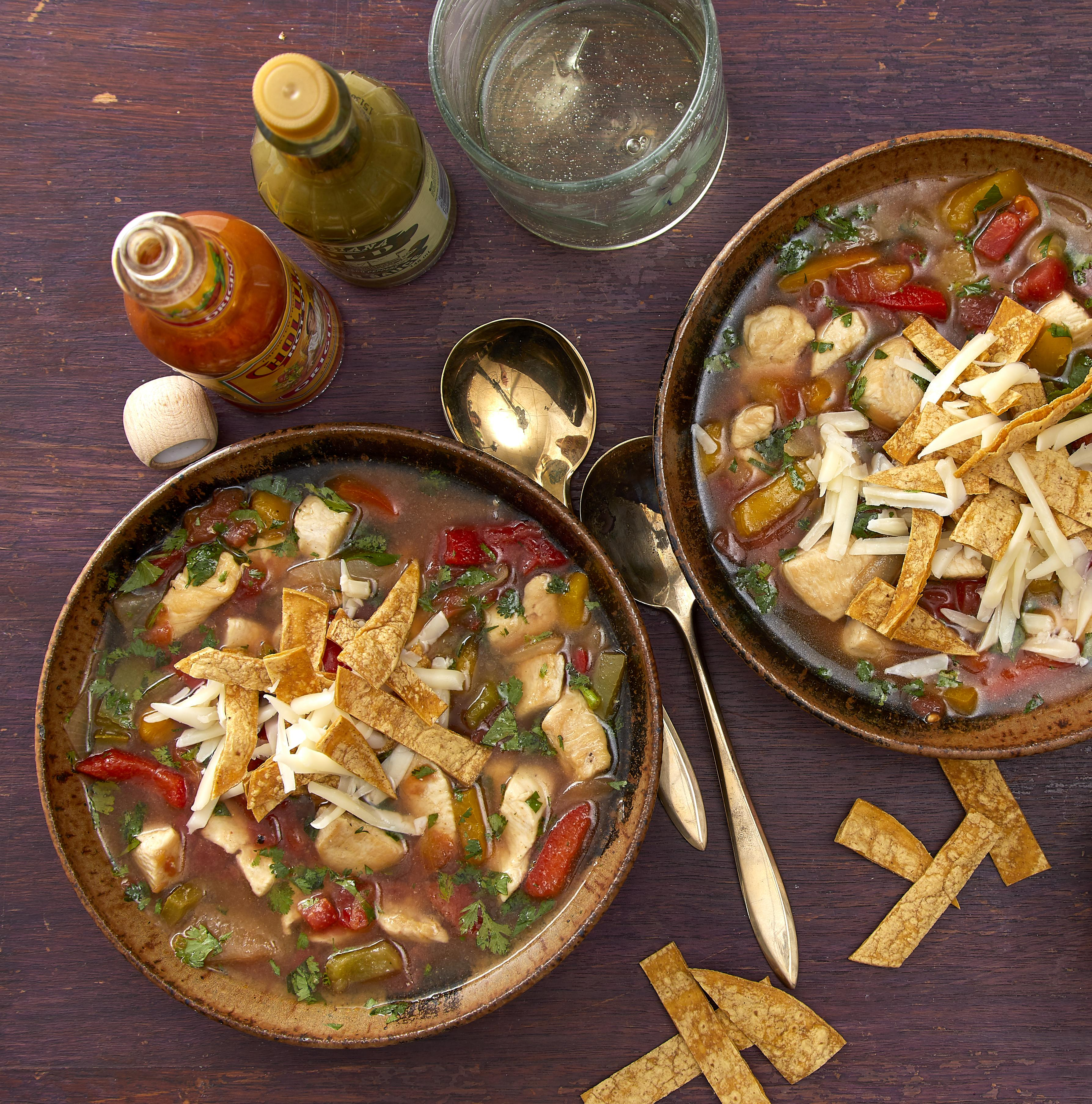 Making soups may have once been an all-day affair, but here's a great example of how a few choice convenience products can renovate an old favorite for our modern, hectic lives. Some frozen vegetables, a few canned tomatoes and canned broth—and voila! a Tex-Mex favorite in minutes.