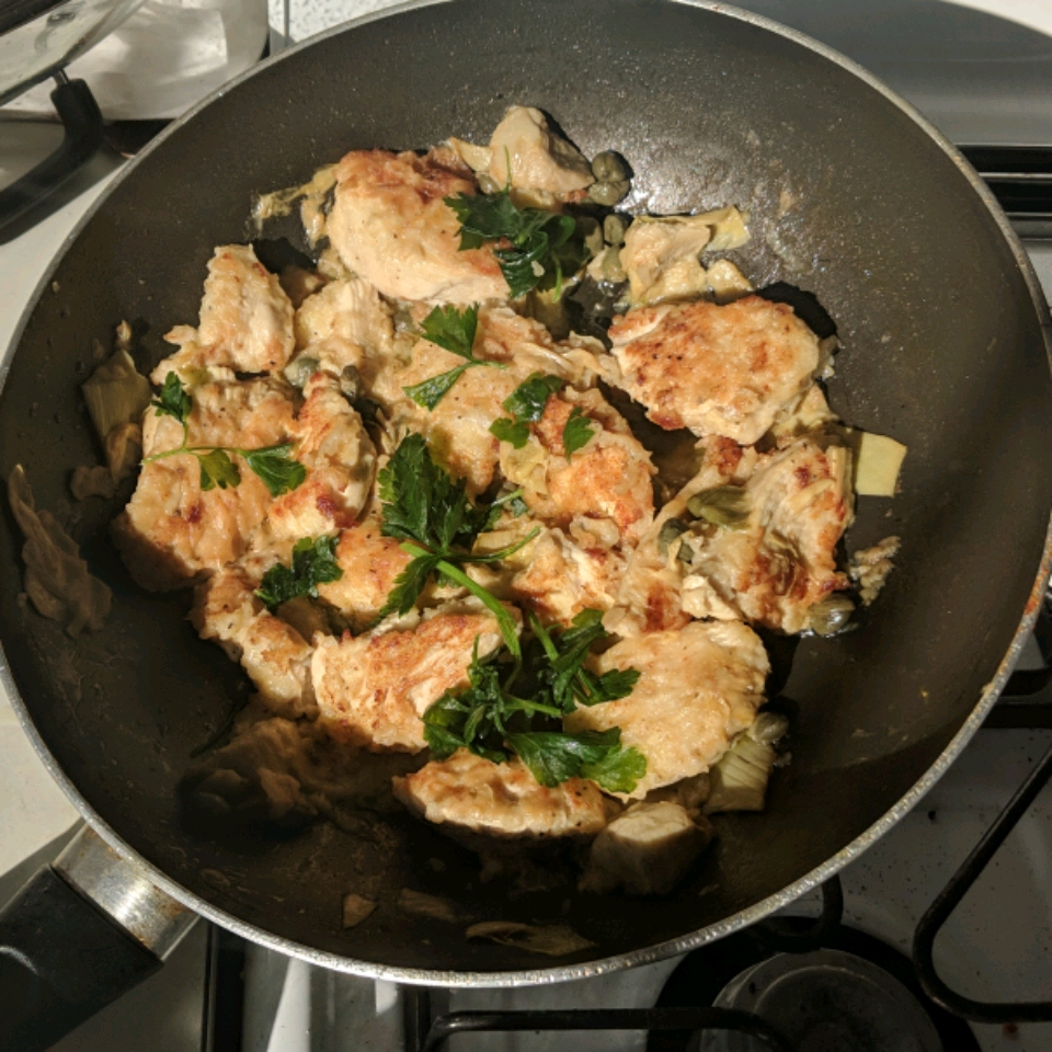 Chicken Breast Cutlets with Artichokes and Capers Marah Abu Khalaf