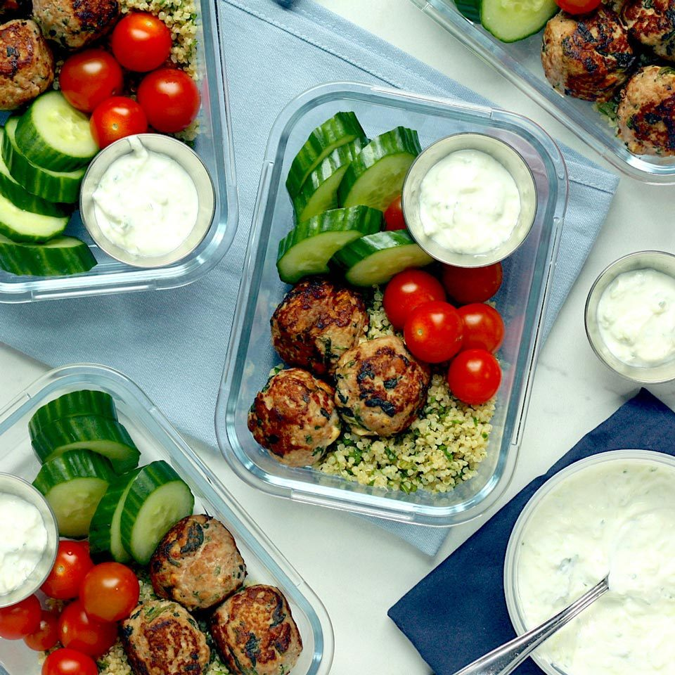 With a variety of flavors and textures (and a whopping 30 grams of protein!), these Mediterranean-inspired meal-prep bowls will keep you fueled all afternoon. The turkey meatballs are adapted from Greek Turkey Burgers with Spinach, Feta & Tzatziki by Hilary Meyer. Look for premade tzatziki near the specialty cheeses and dips at your grocery store or make your own (see Associated Recipes).