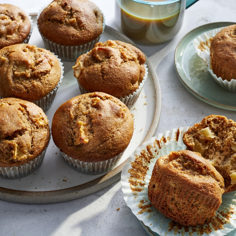 These healthy apple-cinnamon muffins will put you in an autumnal state of mind no matter the time of year. Sprinkling the muffins with sugar before baking gives them a crispy top, just like a coffee-shop muffin—but these are a whole lot more nutritious than your average coffee-shop muffin, thanks to wholesome ingredients like white whole-wheat flour. Serve them for breakfast or a grab-and-go snack.