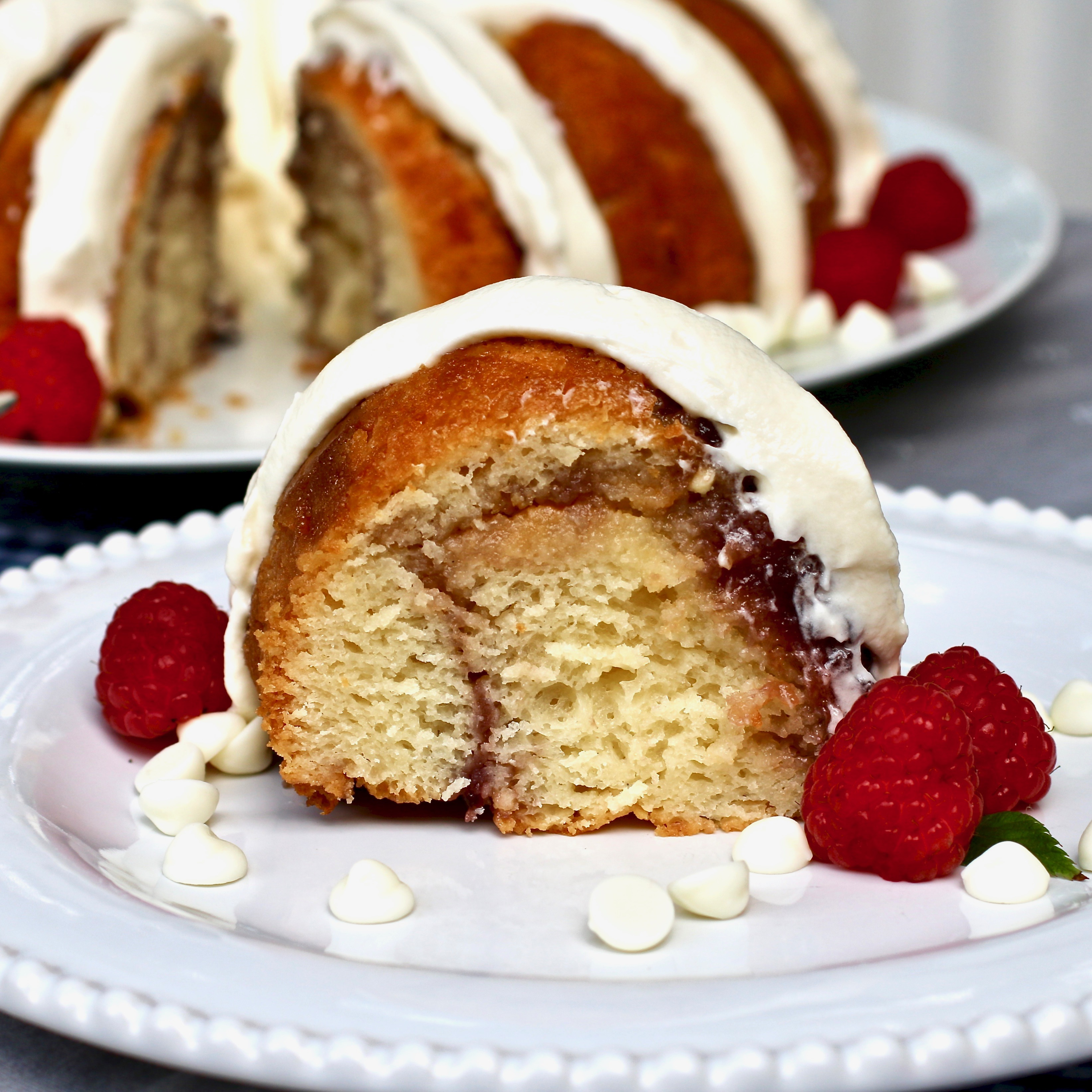 White Chocolate-Raspberry Bundt® Cake