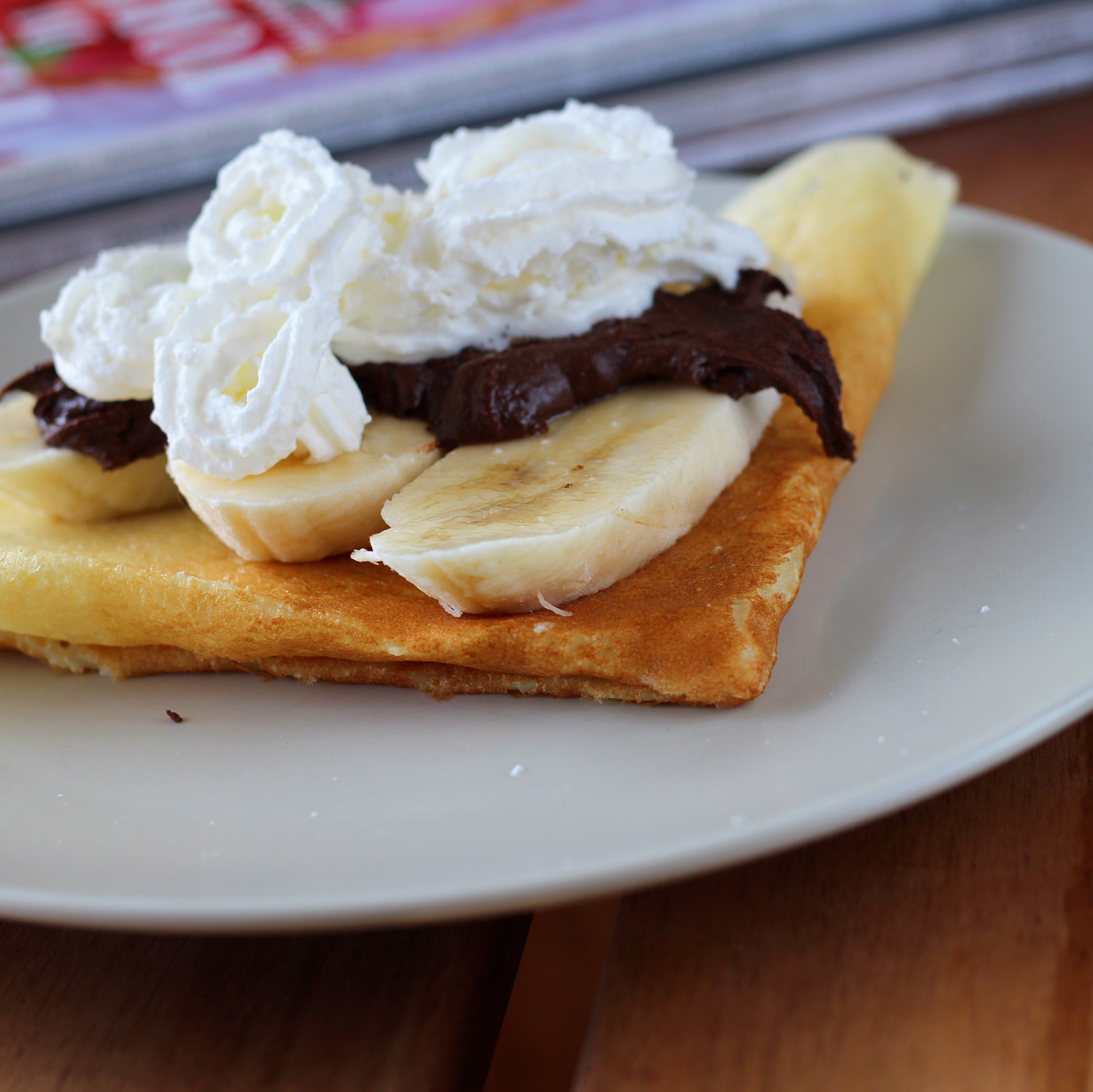 Nutella(R), Banana, and Whipped Cream-Filled Crepes