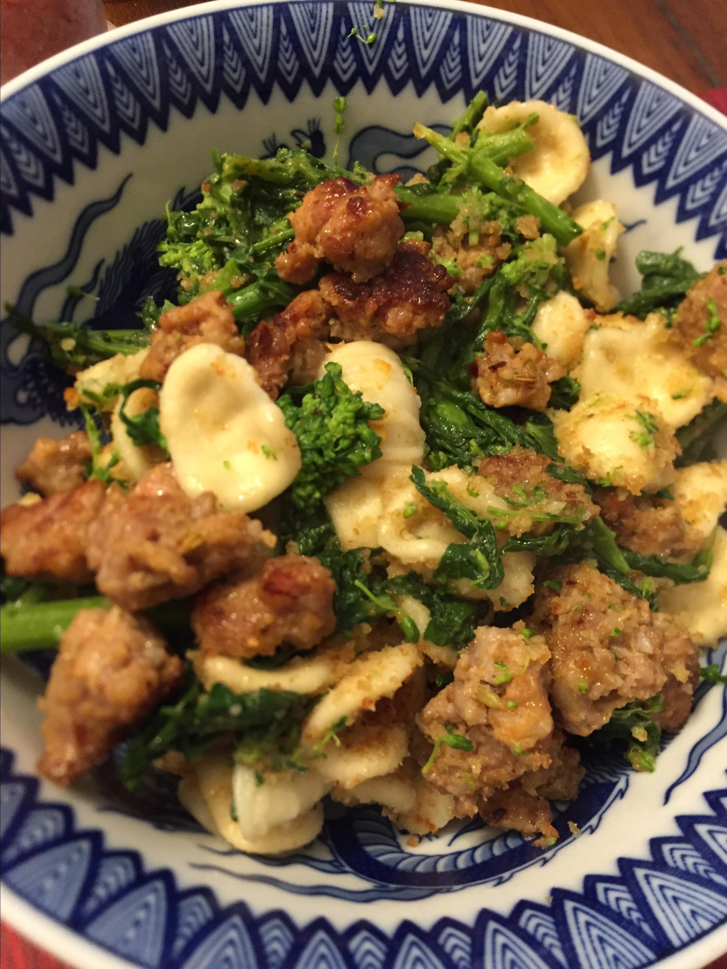 Orecchiette Pasta with Broccoli Rabe, Sausage, and Pecorino Cheese