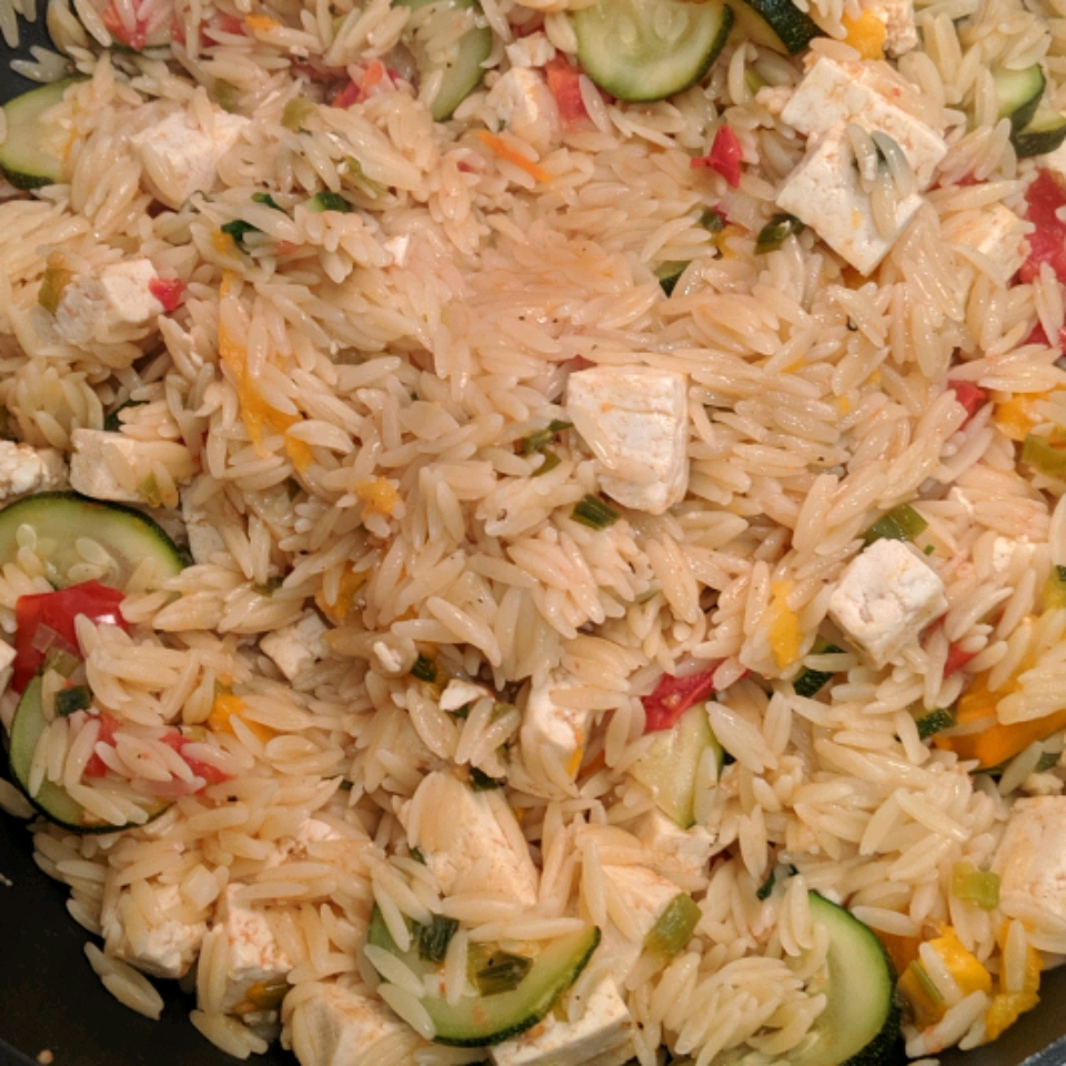 Orzo with Tomato and Fried Tofu Laura