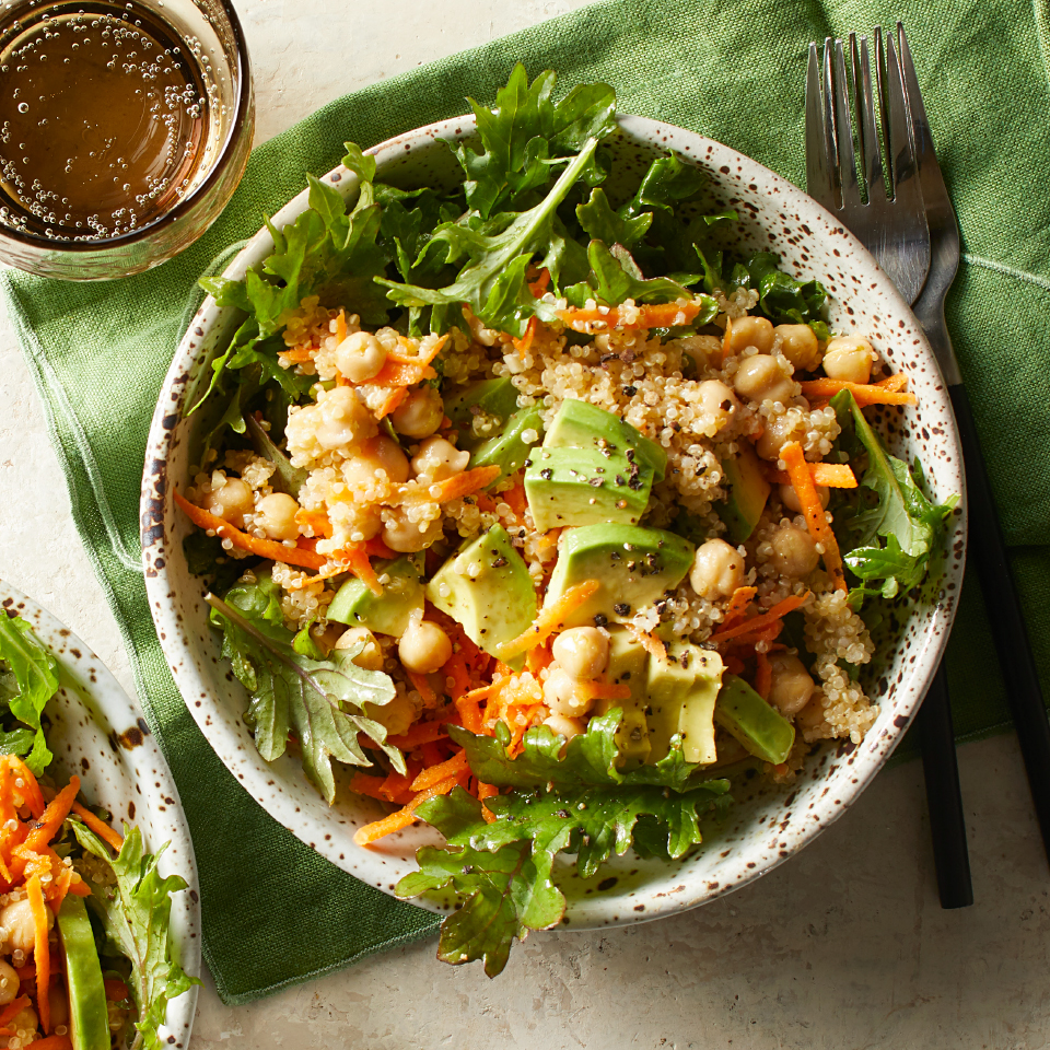 Protein-rich quinoa and chickpeas add staying power to this zesty and healthy salad recipe.