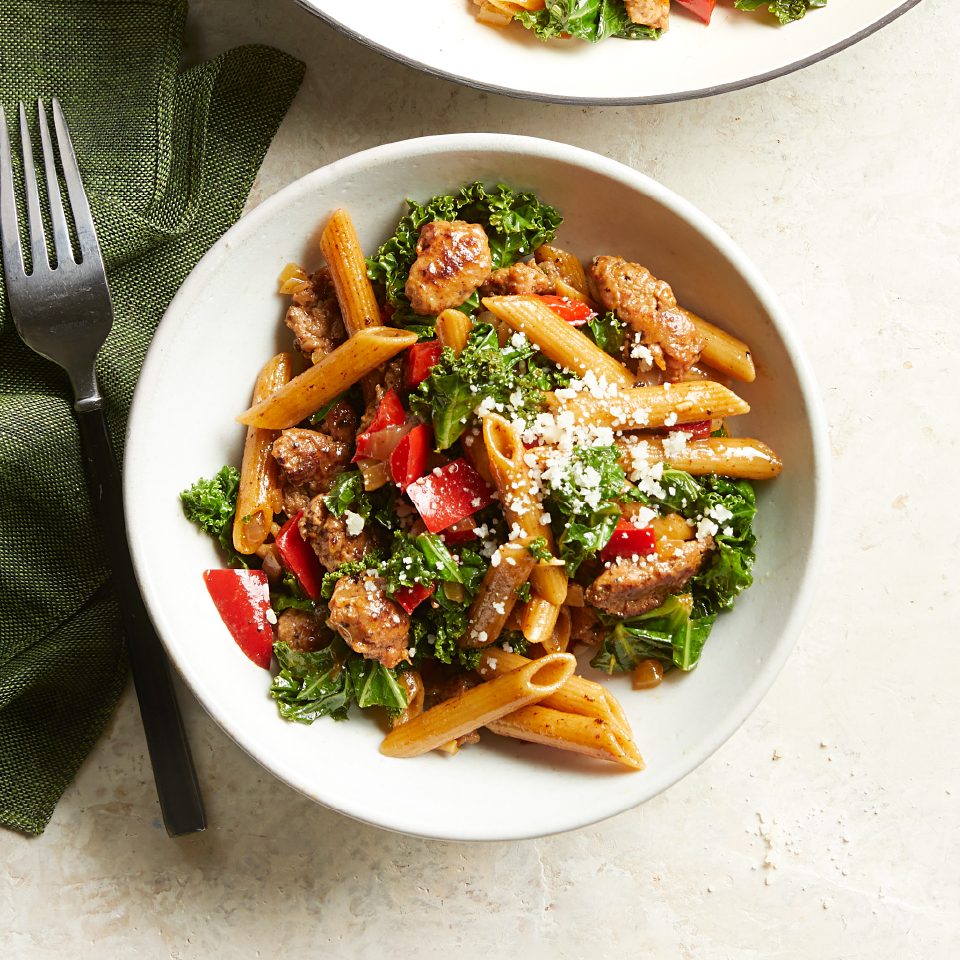 This entire healthy pasta recipe cooks in one skillet, so there's only one pot to clean! Try it with any greens you have in the fridge, such as chard or spinach.