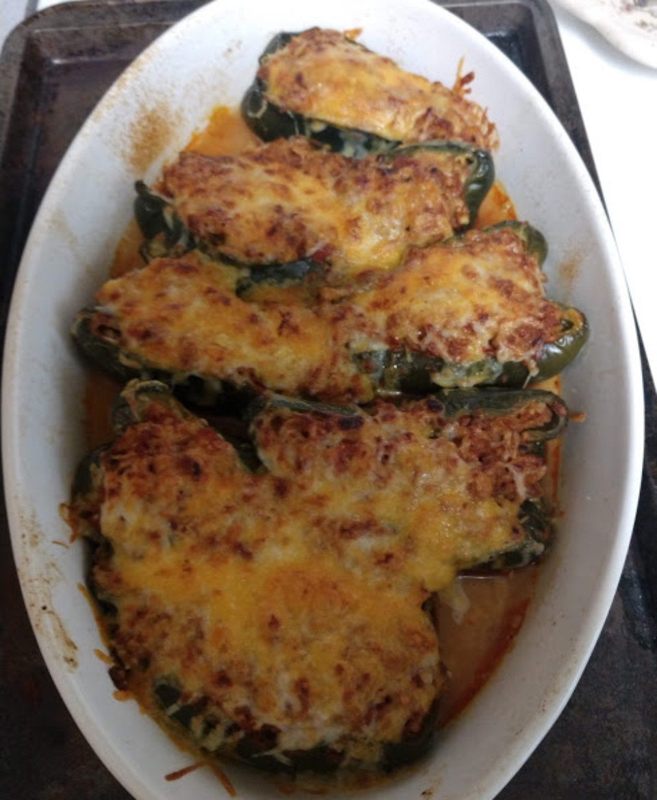Chorizo and Rice-Stuffed Poblano Peppers