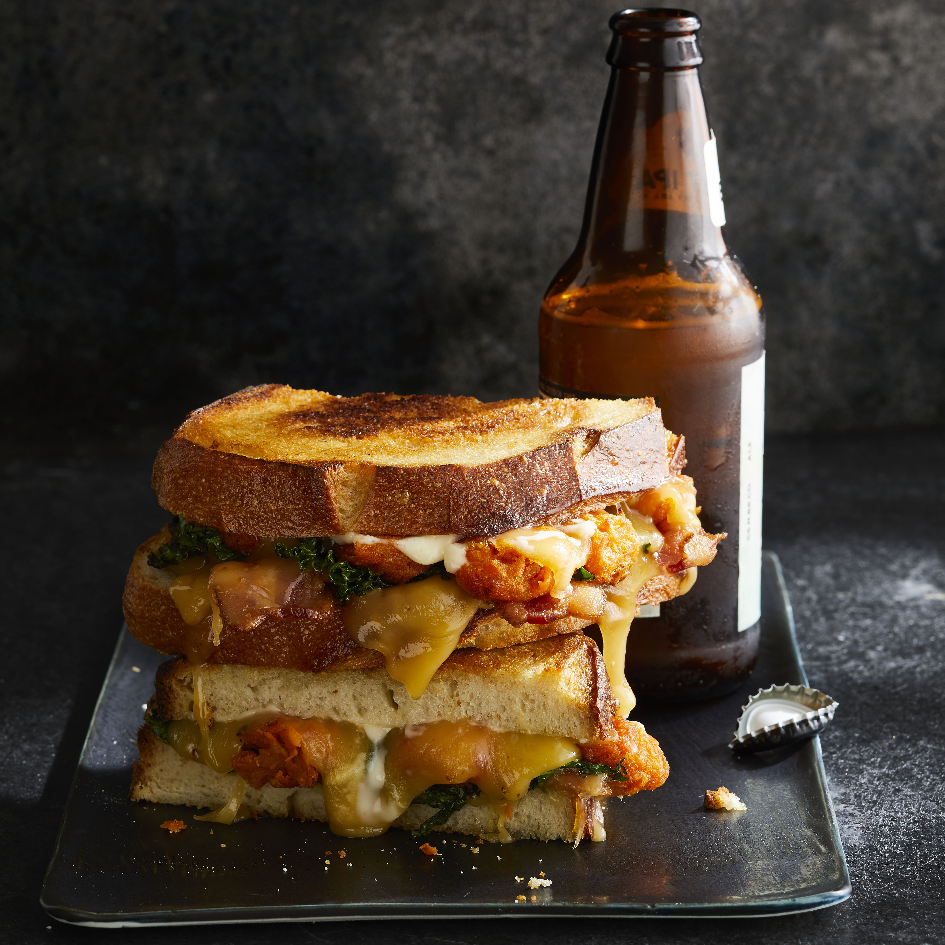 Sriracha Gouda Grilled Cheese with Sweet Potato Tots