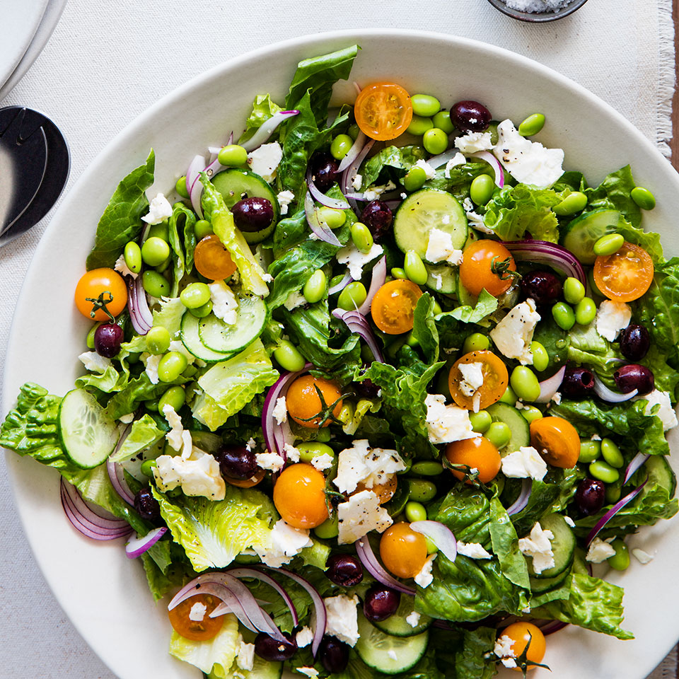 Edamame adds protein to the classic Greek salad: romaine, tomatoes, cucumber, feta and olives. Serve with toasted pita brushed with olive oil and sprinkled with dried oregano or za'atar.