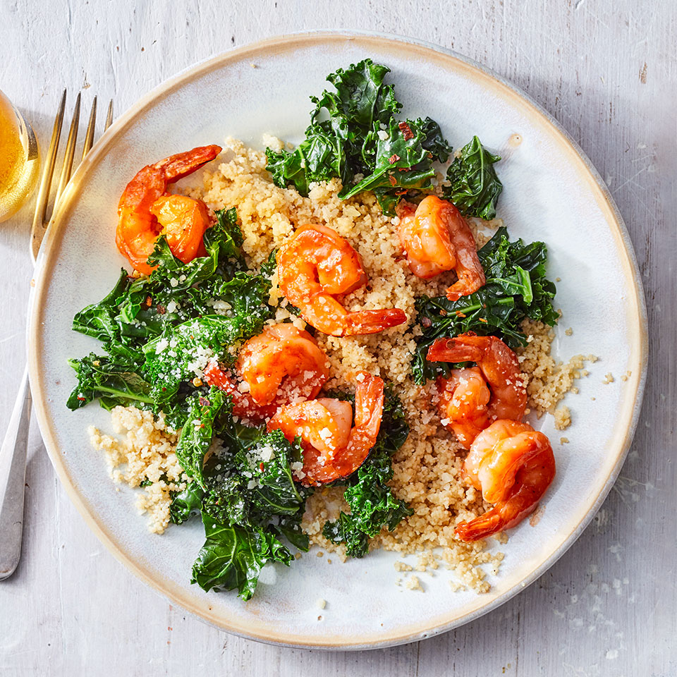 In the U.S., dry whole-wheat couscous has been partially cooked, making it a quick-cooking (5 minutes!) whole-grain weeknight dinner champ. And when you buy peeled shrimp, plus a bag of pre-chopped kale and bottled barbecue sauce, the savings in prep time helps to get this healthy dinner done in a jiff.
