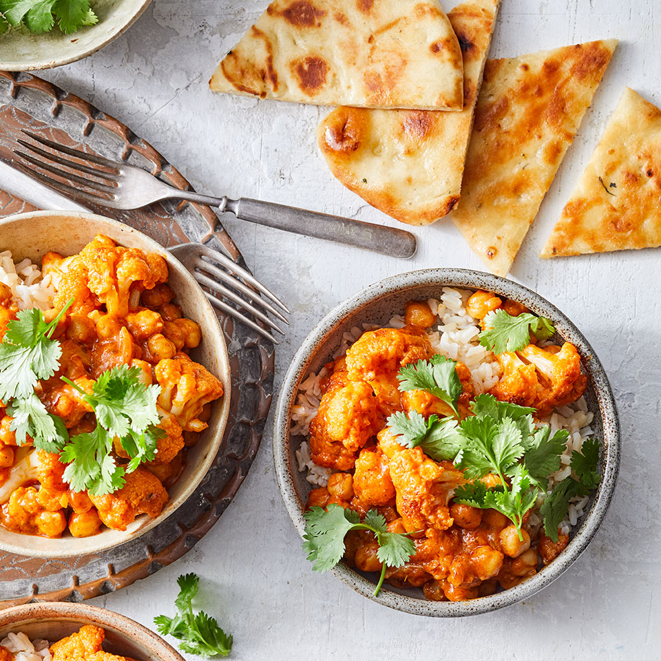 In this vegetarian riff on a popular Indian dish, we swap in cauliflower and chickpeas for the chicken tikka masala. The cauliflower's nooks and crannies are particularly good at soaking up all the intense flavors of the sauce. Serve over rice for an easy healthy dinner that's ready in just 20 minutes.