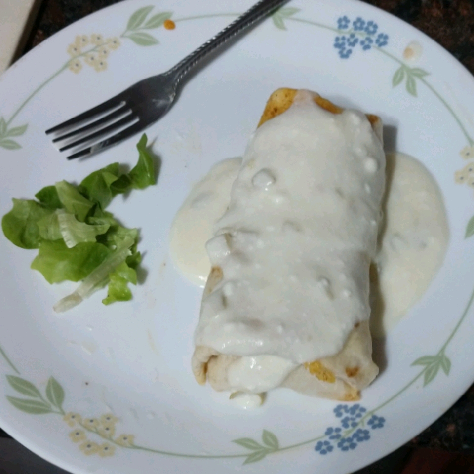 Chicken Chimichangas with Sour Cream Sauce Sarah McDonald