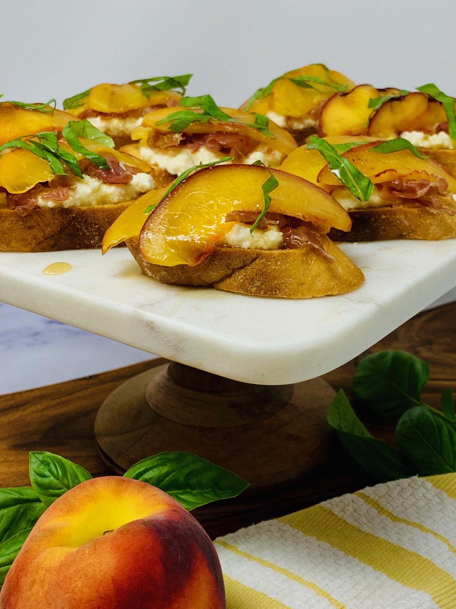 Grilled Peach and Ricotta Crostini