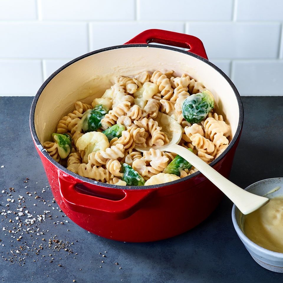 One-Pot Mac & Cheese with Cauliflower & Brussels Sprouts Katie Webster