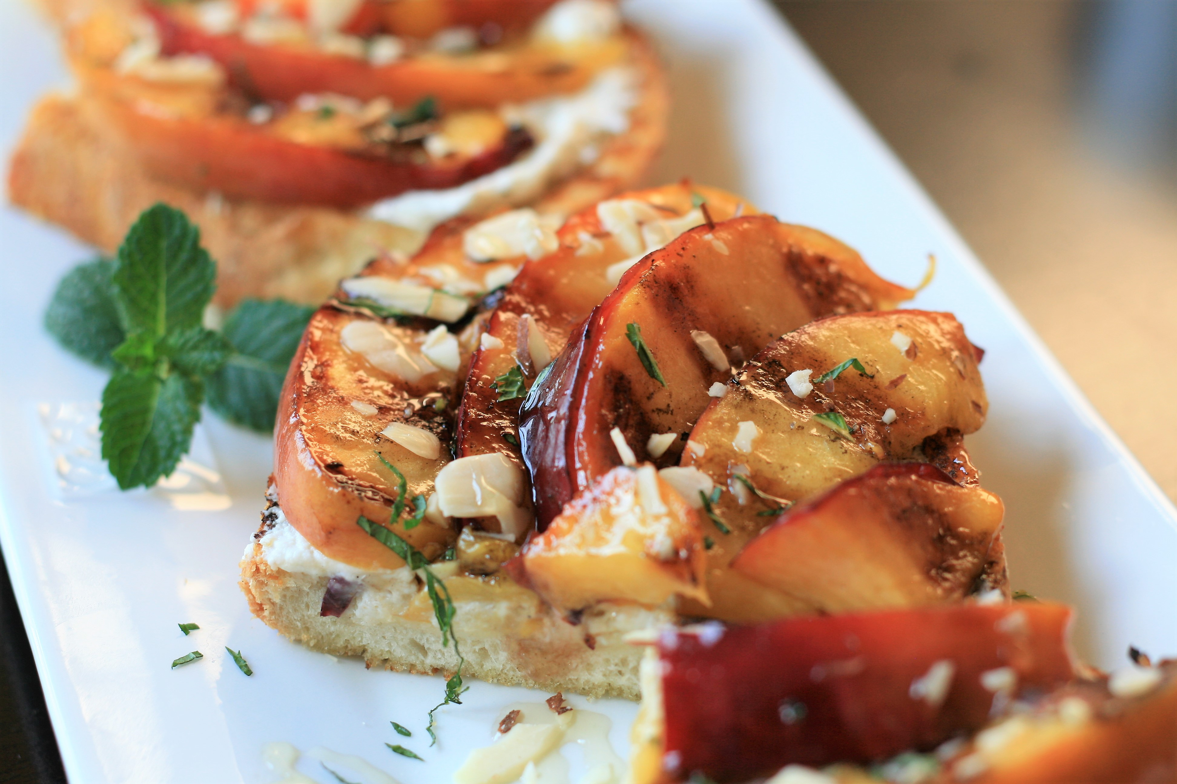 Grilled Honey-Nectarine Ricotta Toast