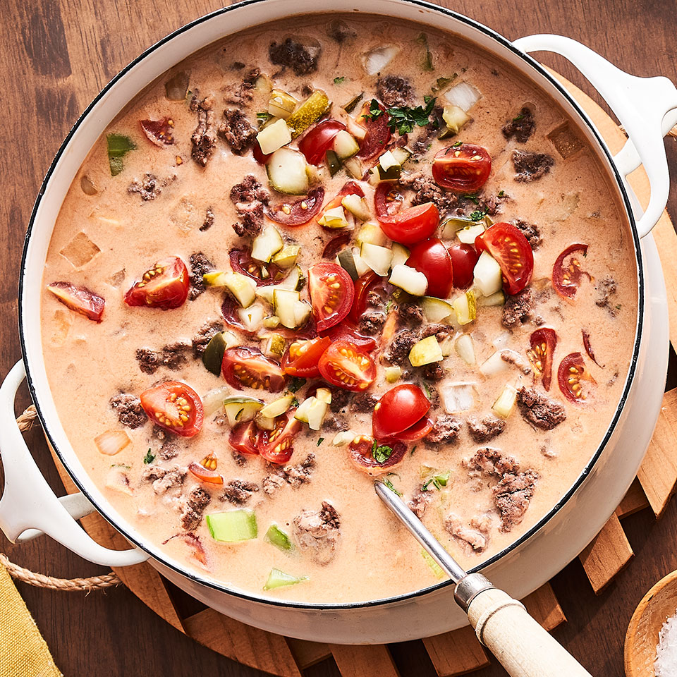 A spoonful of this tomatoey cheeseburger soup delivers the experience of a perfect burger bite—savory beef and onions, sweet and tangy condiments and, of course, Cheddar and American cheese! This kid-friendly and easy soup is sure to appeal to everyone in your household.