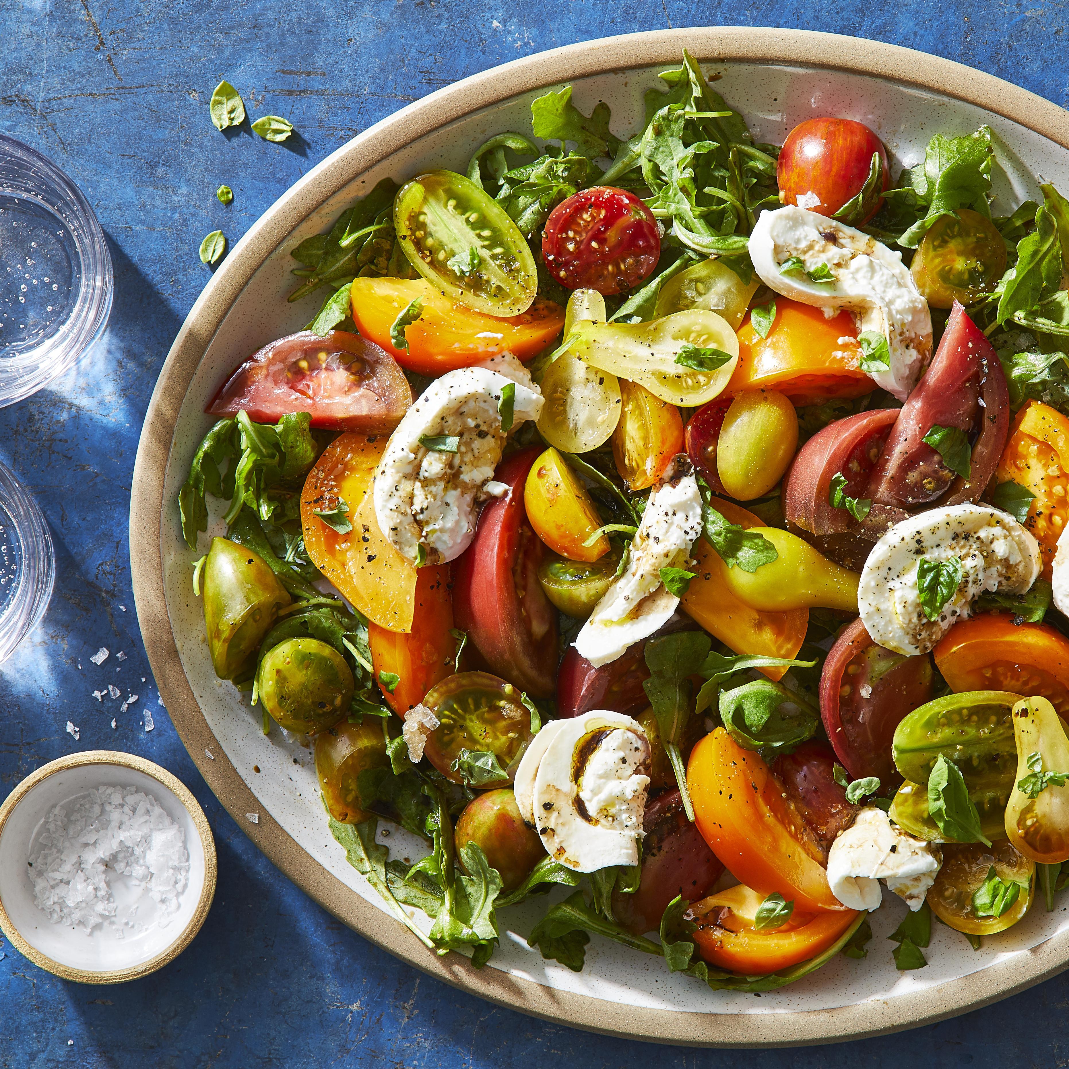 Caprese Salad With Heirloom Tomatoes Burrata