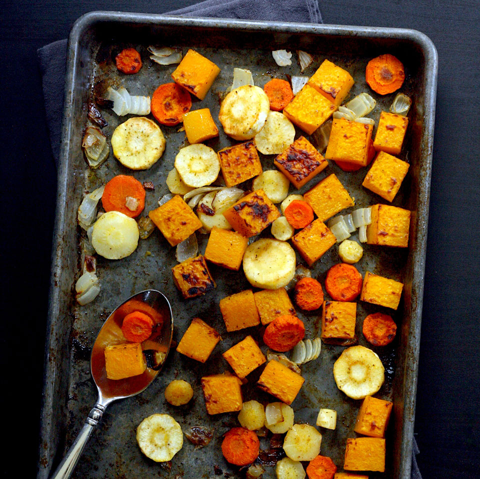 This easy roasted butternut squash and root vegetables recipe is incredibly versatile. Pile the squash and veggies onto grain bowls, add to sandwiches, toss in soup, serve as a side dish—you name it. Roasting vegetables in the oven gives you 20 minutes of hands-off cooking time to assemble the rest of your meal.