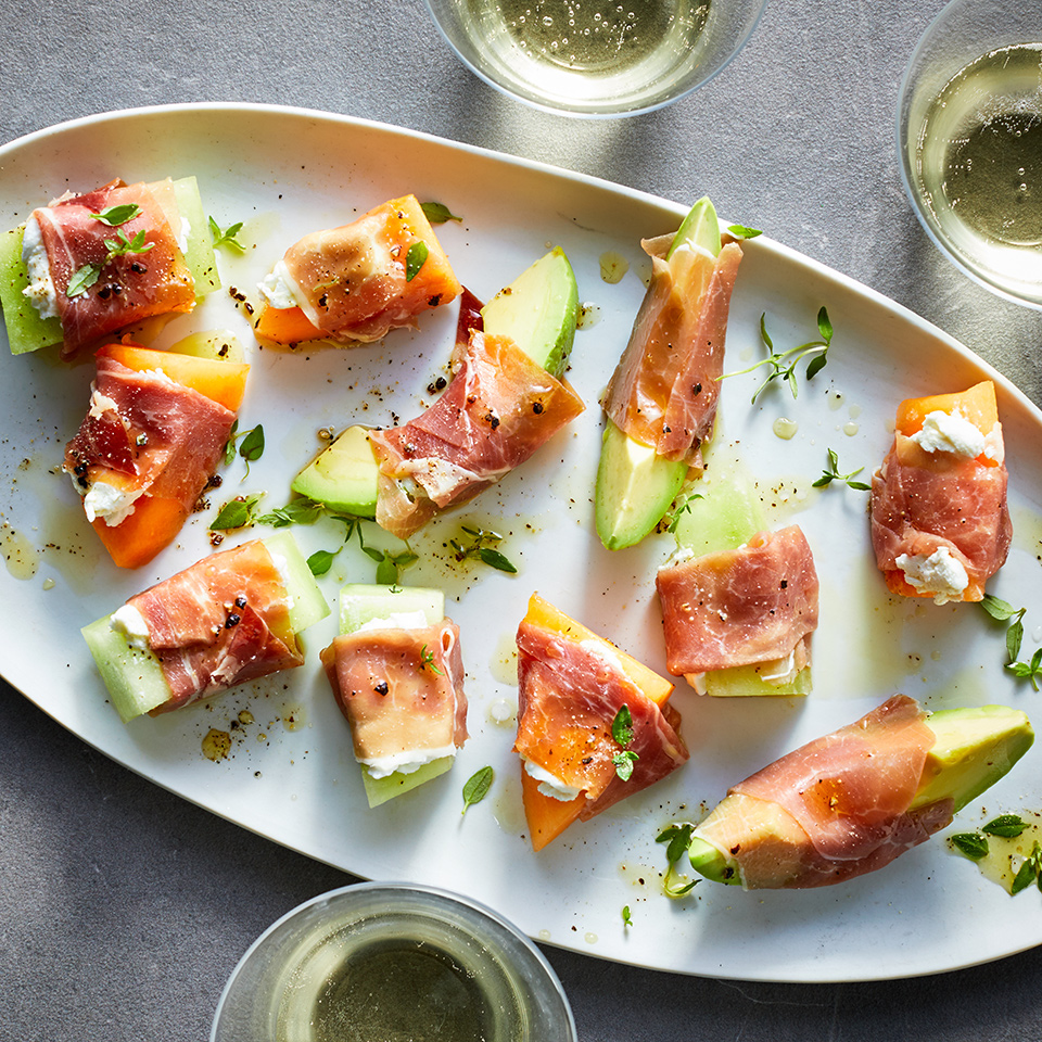 This classic combination of melon and prosciutto gets a bit of creamy deliciousness from goat cheese. The avocado adds a touch of decadence and good-for-you nutrients. This appetizer recipe is worth bookmarking for your next dinner party, since all of the ingredients are incredibly simple to find and easy to keep on hand.