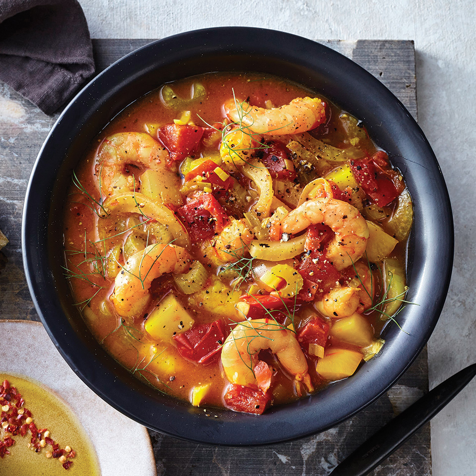 Look for white, American 22-25 count shrimp—the fresher, the better. They'll poach and become very tender in the hot slow-cooker liquid. Just be sure not to overcook them. Garnish with fennel fronds and serve with bread and olive oil, if desired.