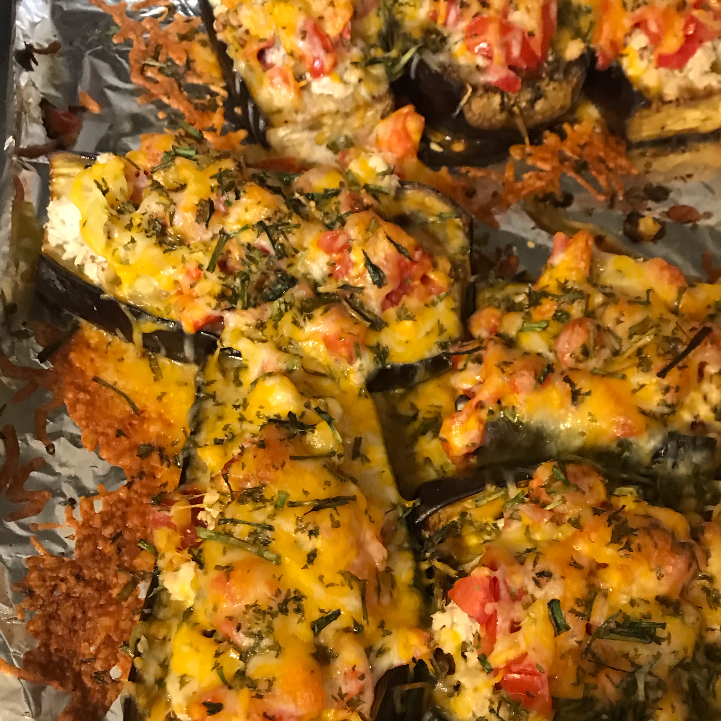 Eggplant Stuffed with Chicken and Cheese
