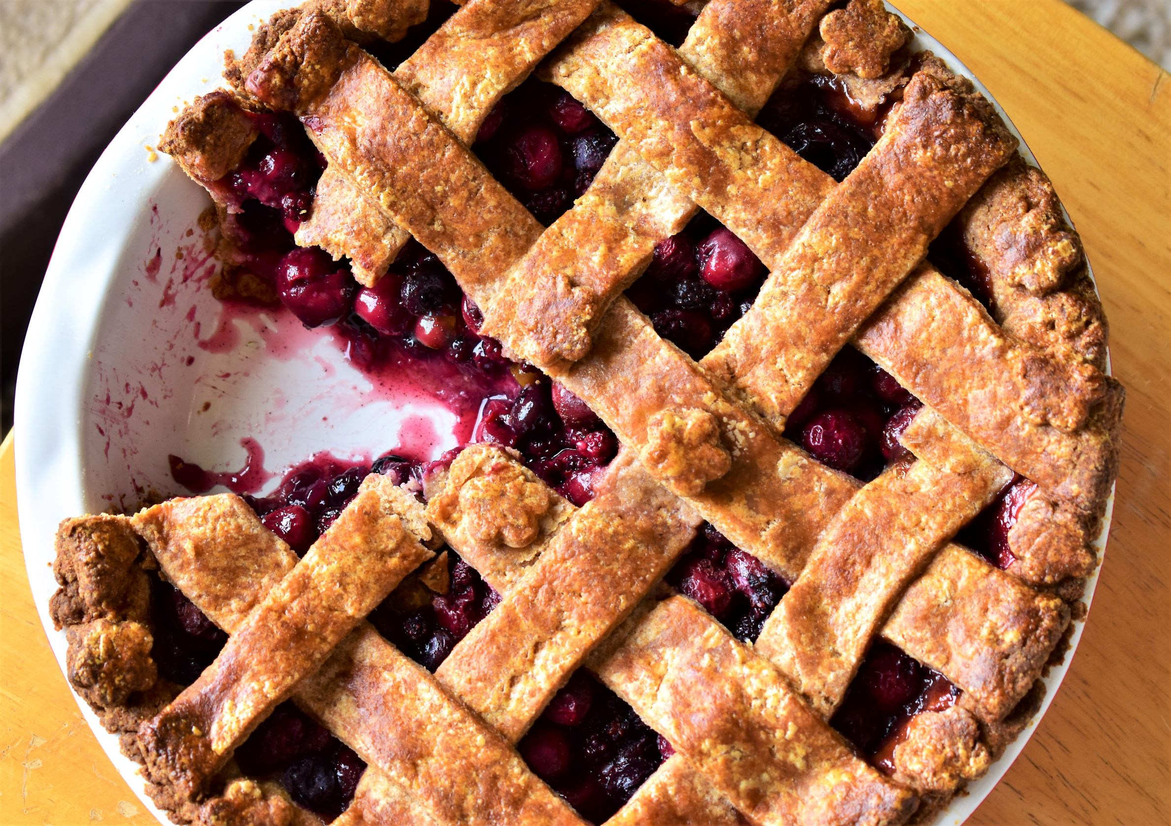 Cherry-Berry Pie with Whole Wheat Pie Crust