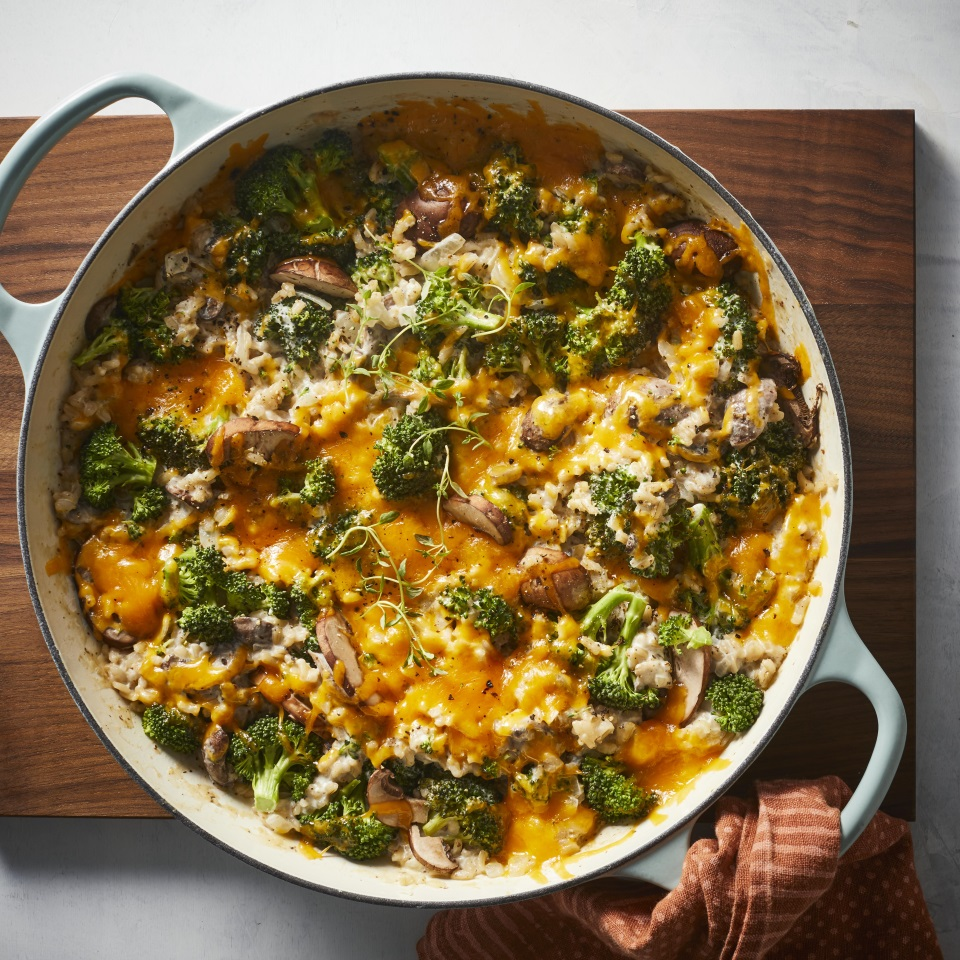 Ditch the baking dish and make this easy skillet broccoli, cheese and rice casserole. Cooking the casserole in a skillet keeps the flavors and textures fresh—no mushy, sad broccoli! Serve this easy side with baked chicken for a family-pleasing healthy dinner that's ready in just 30 minutes. It would also be a great addition to your Thanksgiving spread or a party buffet.