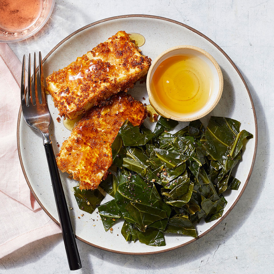 Buttermilk Fried Tofu with Smoky Collard Greens Breana Killeen