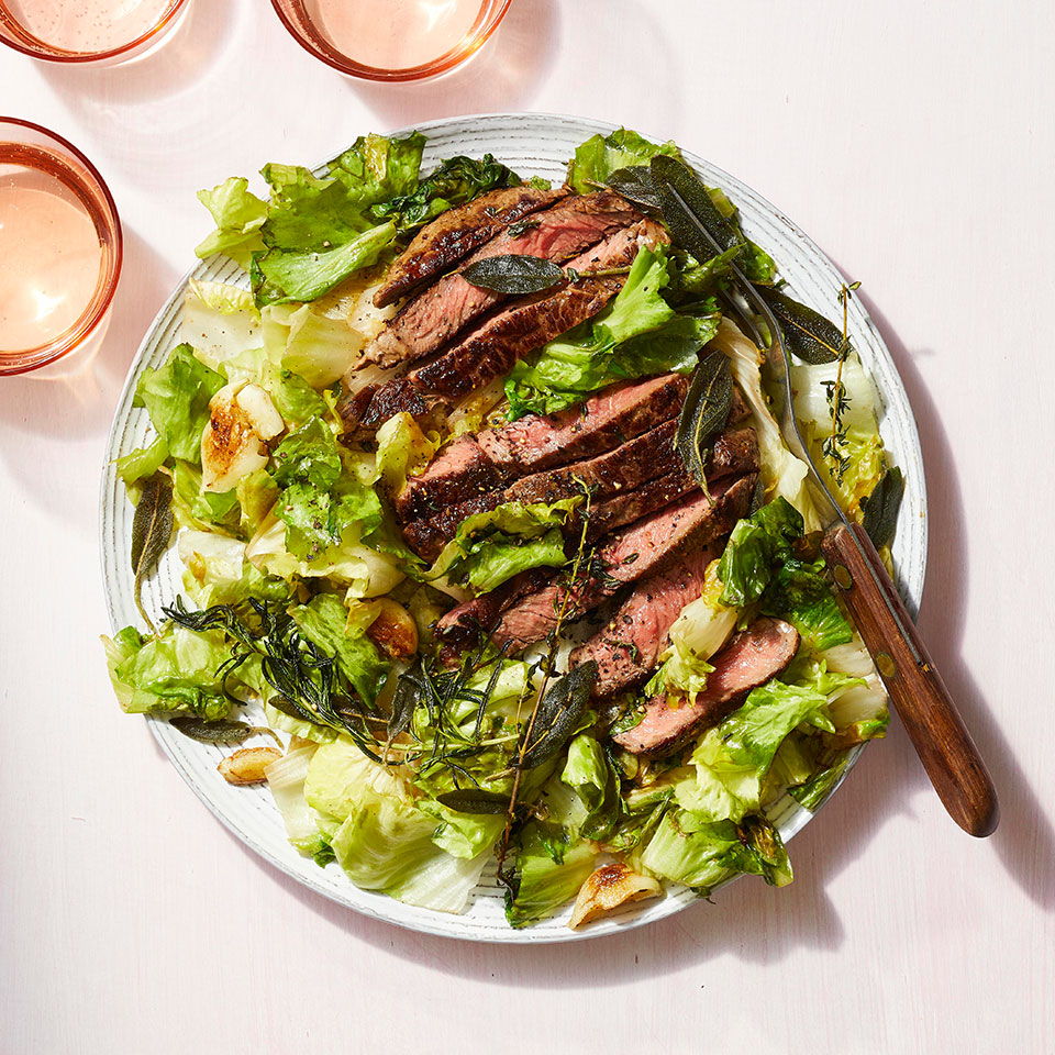 Pan-Seared Steak with Crispy Herbs & Escarole
