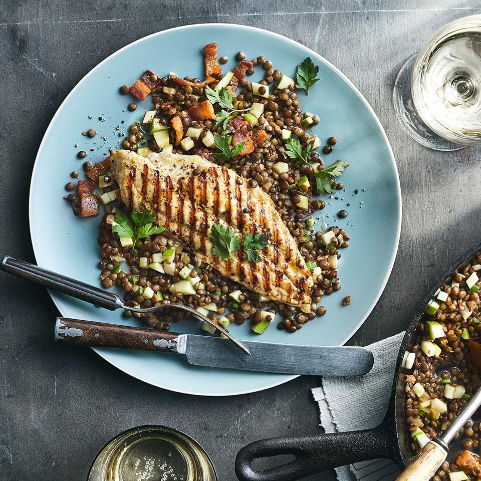 Catfish with Sherry Vinegar Lentils Joey Elenterio