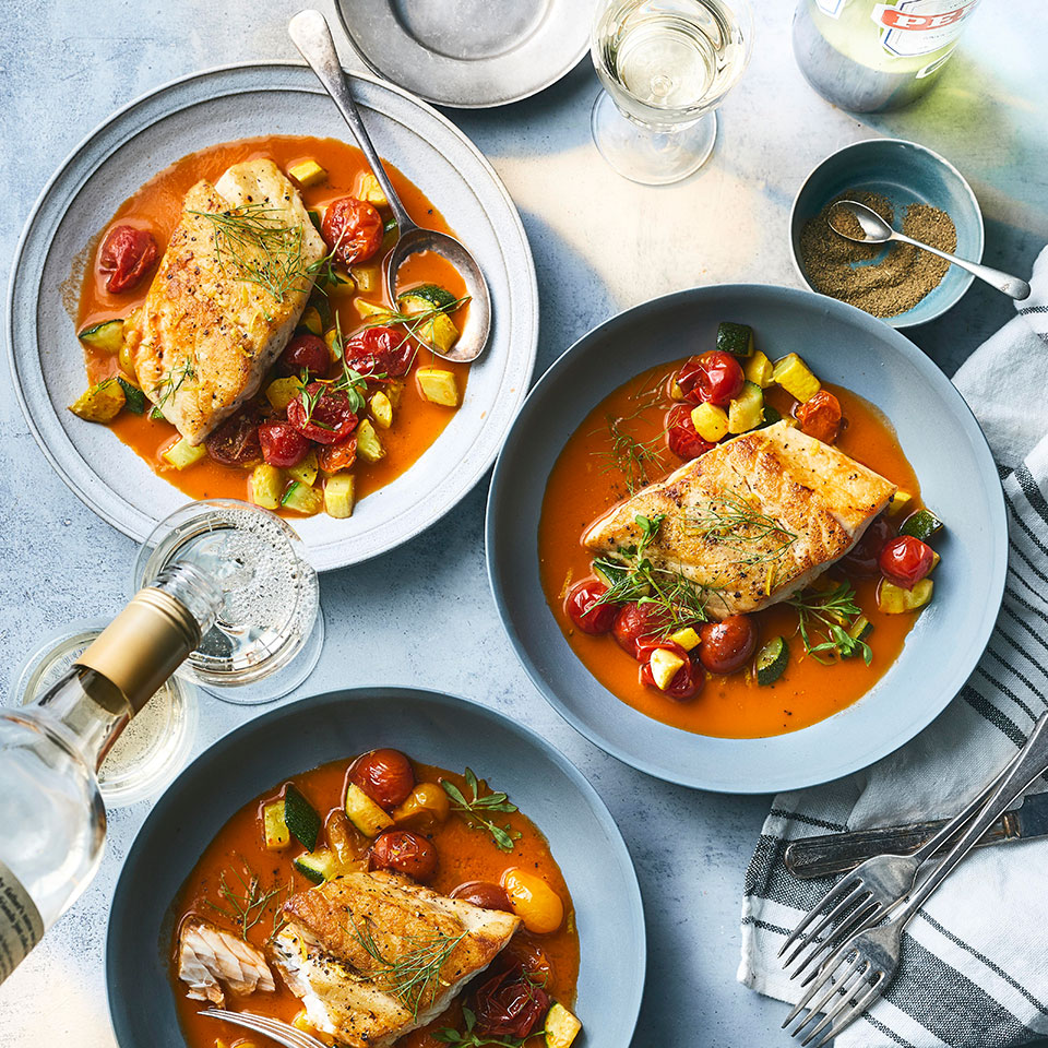 Black bass has a delicate flavor that begs to be paired with something bold, like the cioppino-inspired jus in this healthy seafood recipe. The jus takes some time to make but we promise it's worth it. You'll have some left over: do as our editor-in-chief did and try it as a bloody mary base. Or use it to make risotto or a seafood stew.