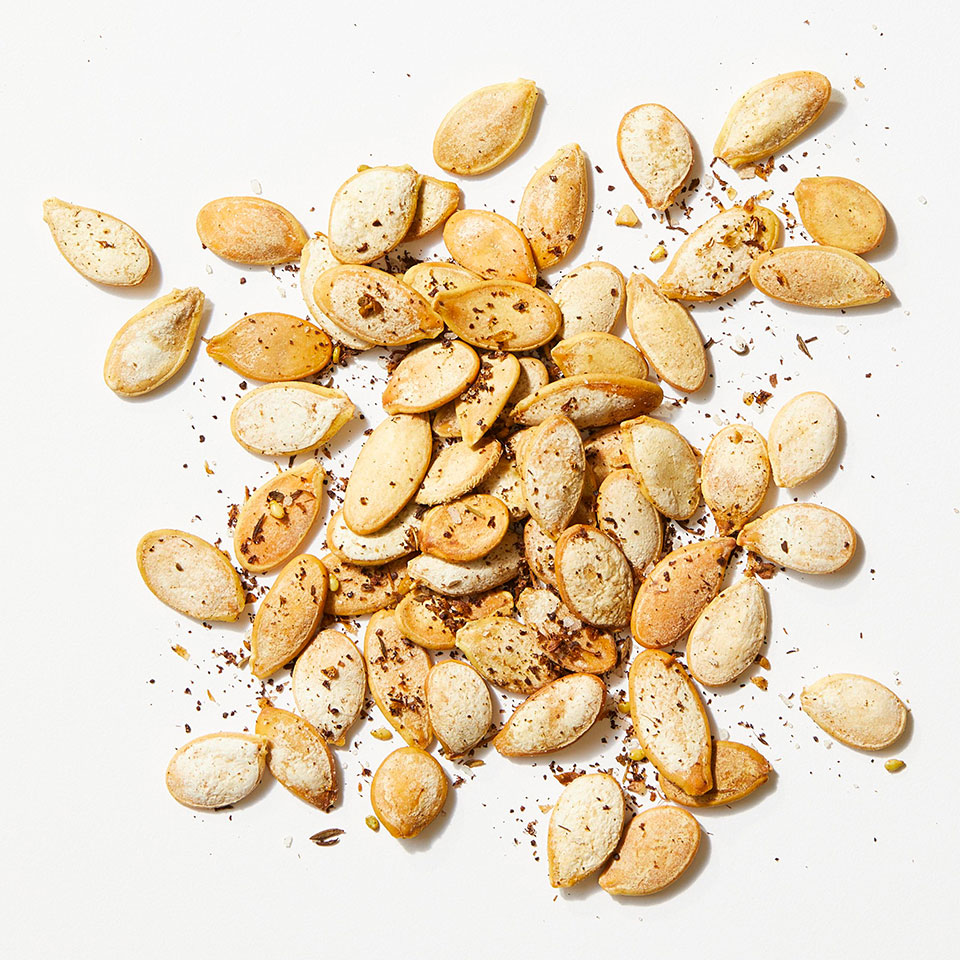 Za'atar (or zaatar)—a Middle-Eastern spice blend that's a mix of thyme, sumac, salt, sesame seeds and sometimes other herbs—livens up roasted pumpkin seeds.