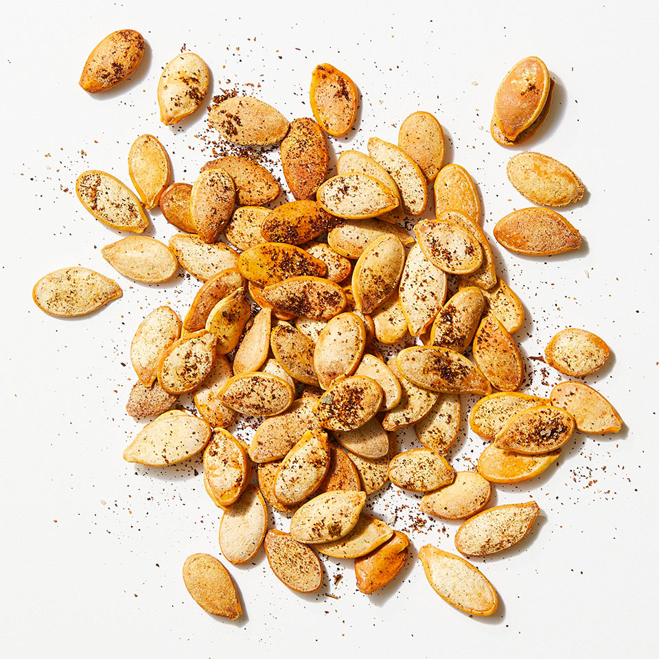 Smoked paprika and garlic powder punch up the flavor in this easy roasted pumpkin seeds recipe.