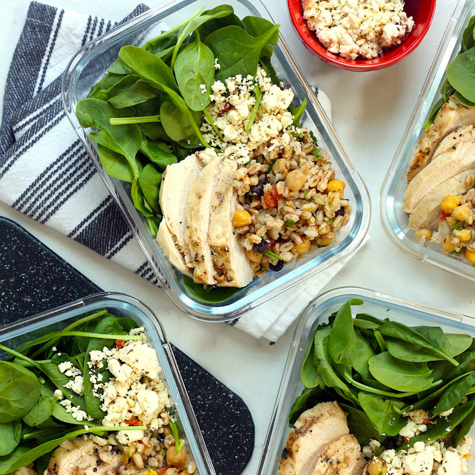 Middle Eastern Salad Bowls with Farro & Chicken Carolyn A. Hodges, R.D.