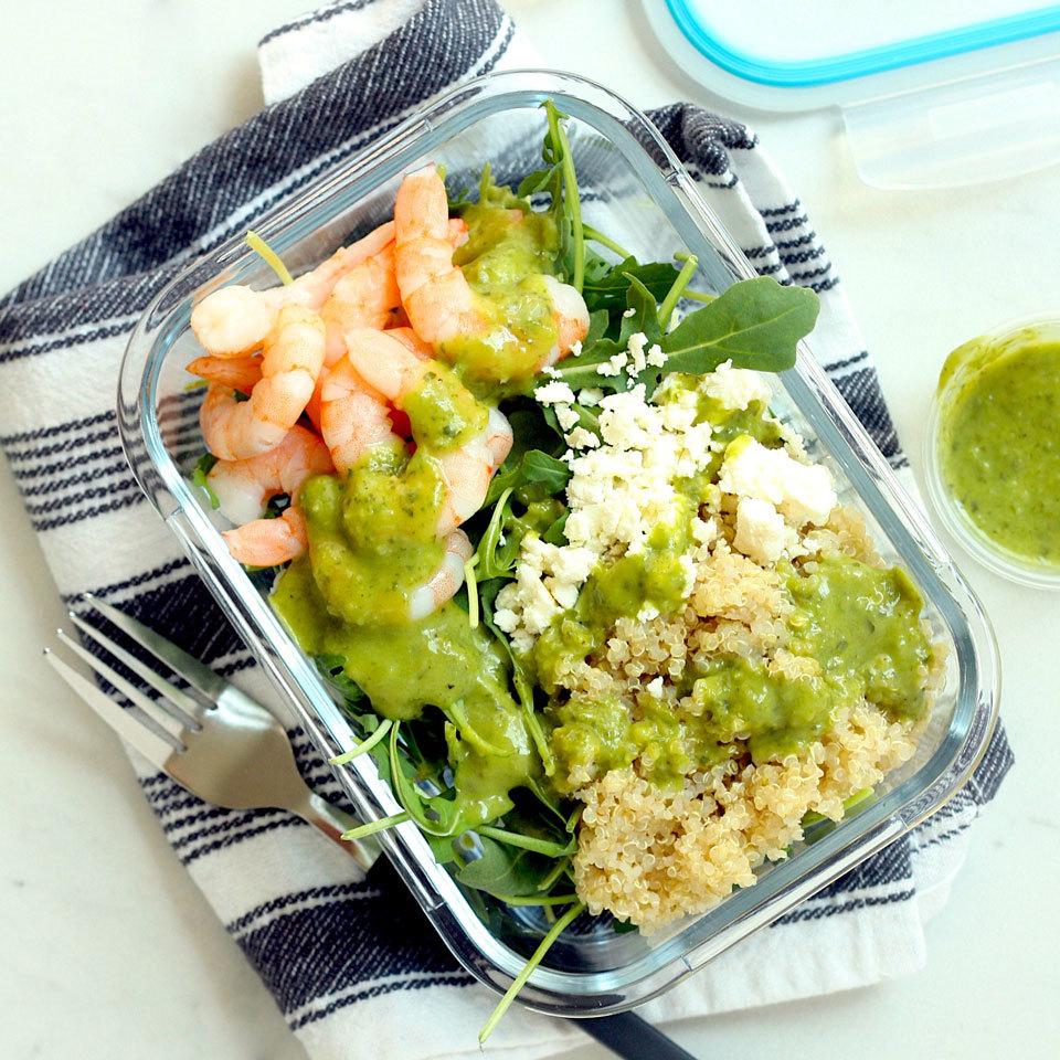 Green Goddess Quinoa Bowls with Arugula & Shrimp Carolyn A. Hodges, R.D.