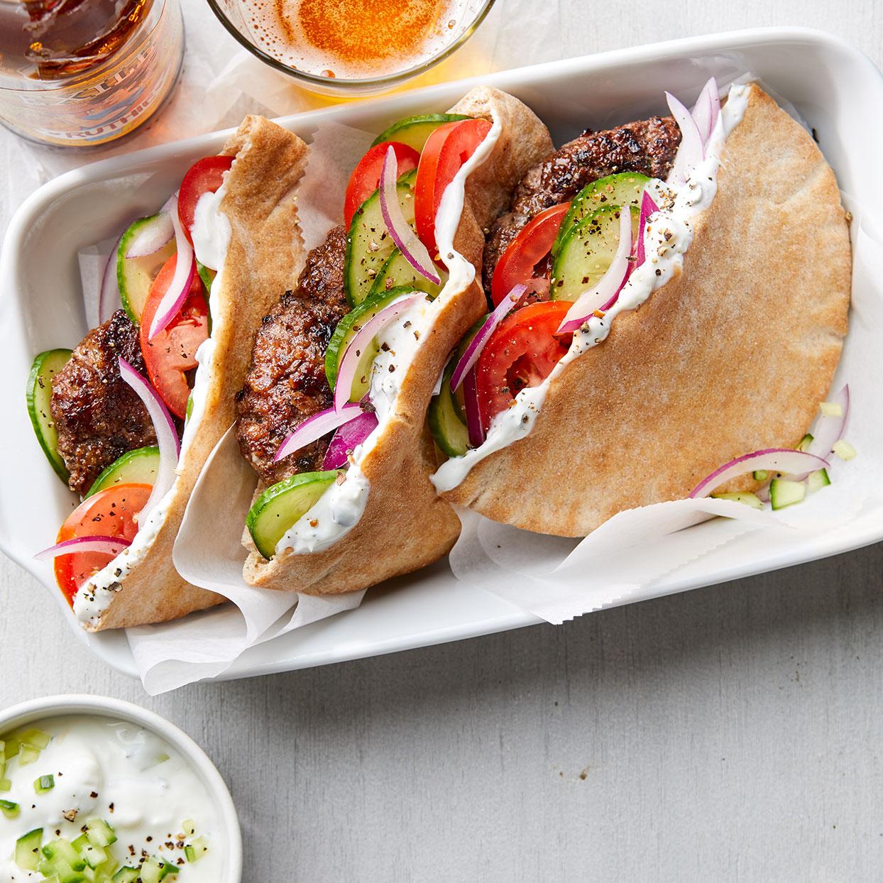 Greek Burgers With Herb Feta Sauce Recipe Eatingwell