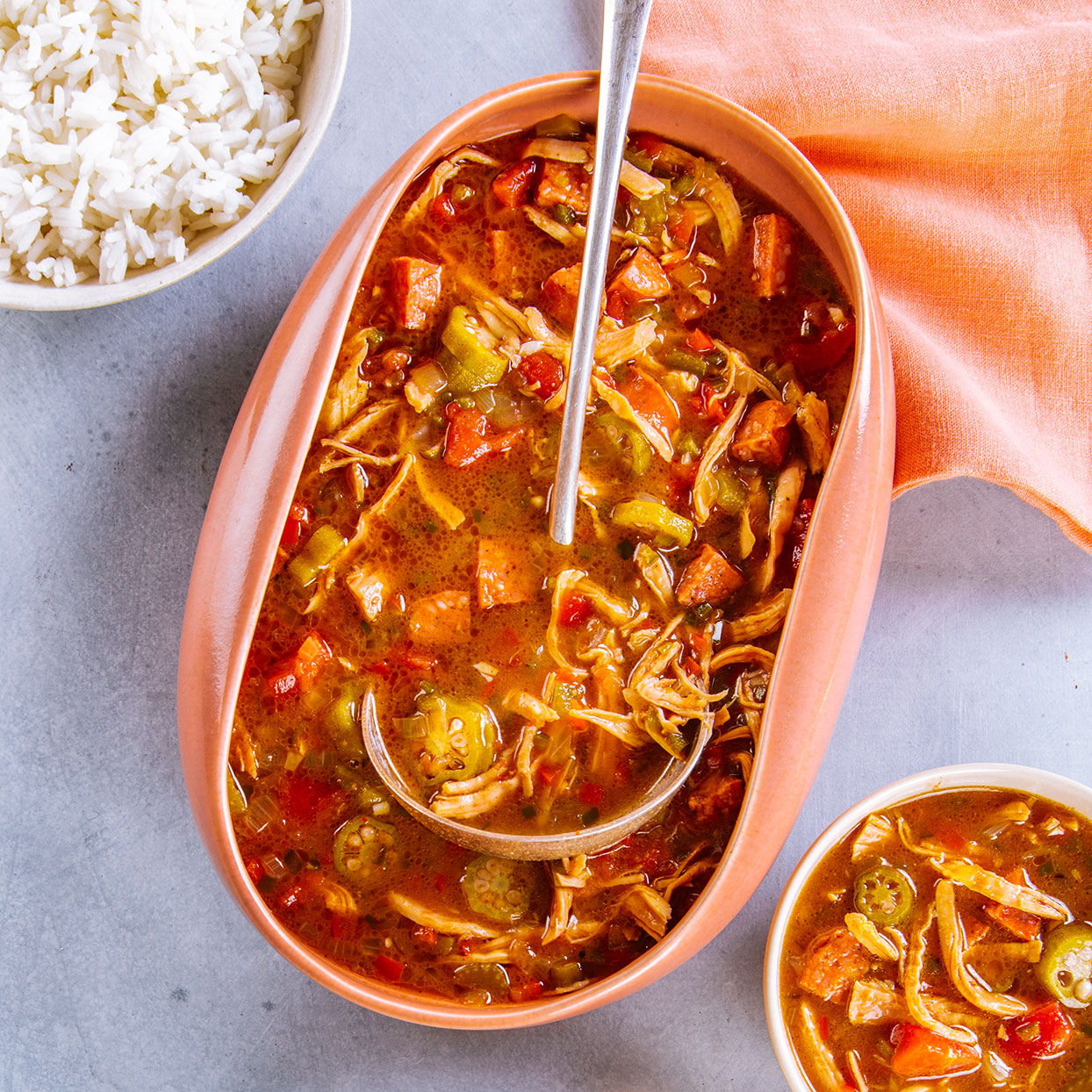 This dish puts other healthy leftover turkey recipes to shame. Chef Hugh Acheson puts his unique spin on gumbo by mixing untraditional spices like allspice and coriander with must-have thyme and filé powder. Also called gumbo filé, filé powder is the finely ground leaves of the sassafras tree; look for it in well-stocked supermarkets or online. Serve the gumbo over rice and don't forget to pass the hot sauce.