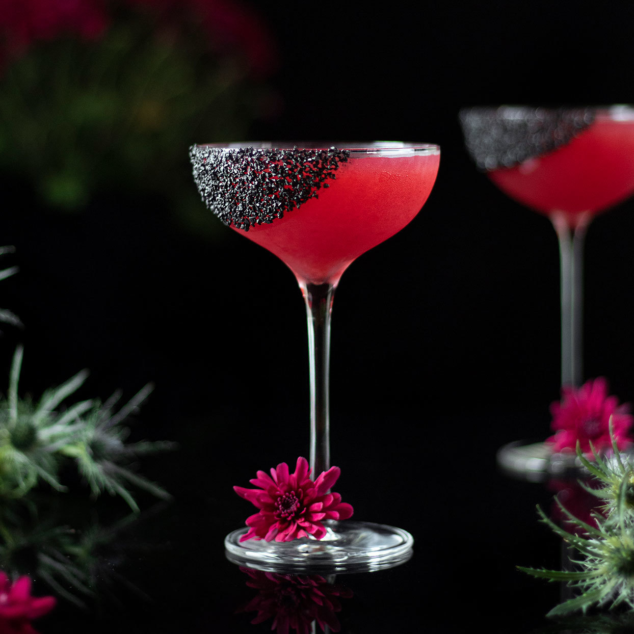This striking red and black margarita is the perfect Halloween party cocktail. Hibiscus tea and pomegranate tea give the citrusy cocktail its red color, and rimming the glass with black lava salt makes it just a little creepy. Use regular kosher salt in place of the black lava salt (or skip the salt altogether) for a cocktail that works any time of year. We love the tartness of this margarita, but feel free to add a little agave nectar if you prefer a sweeter cocktail.