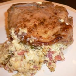 Blue Cheese, Bacon and Chive Stuffed Pork Chops cookiequeen