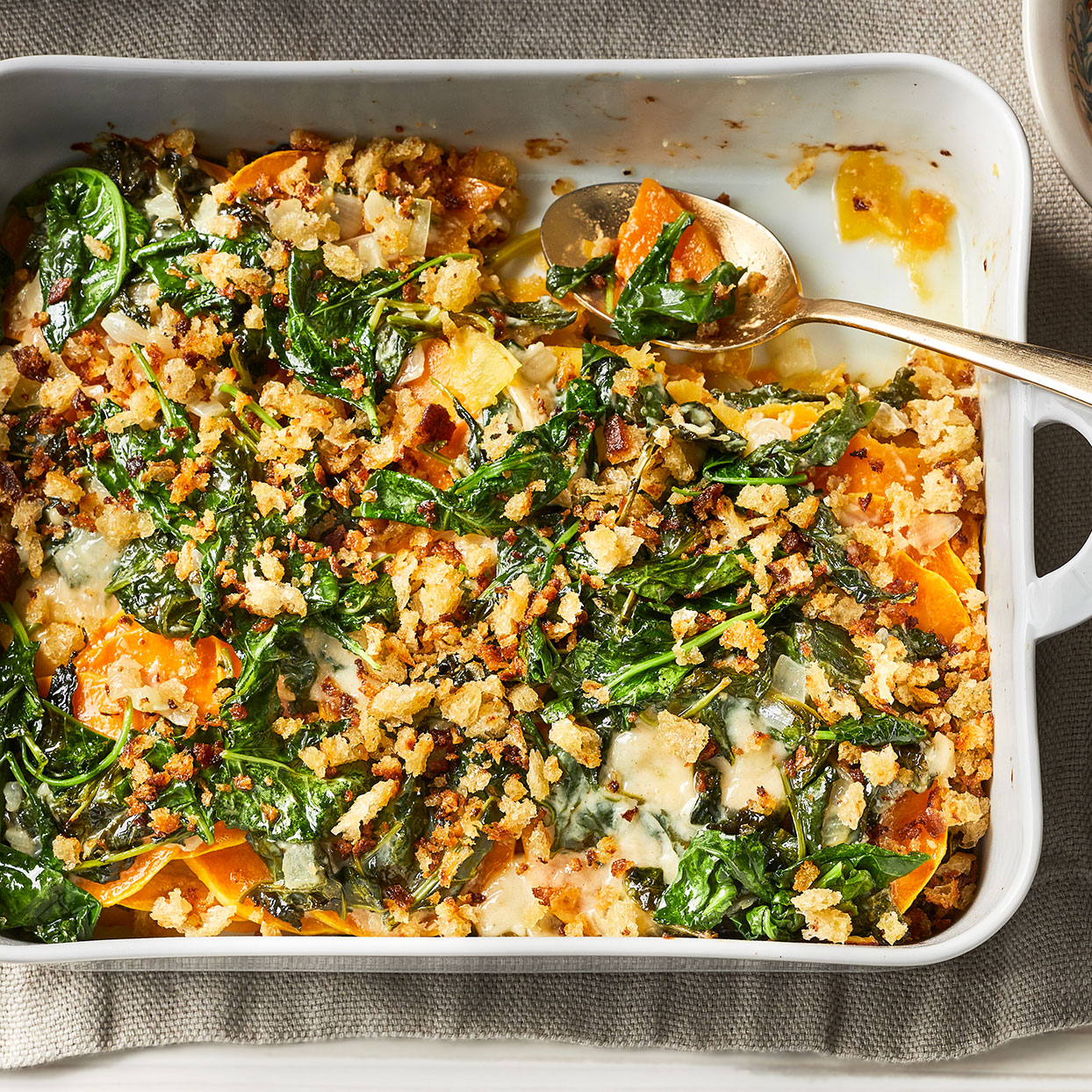 This colorful gratin dish livens up any holiday plate. Creamy melted Gruyère is comforting, while a blend of cumin, nutmeg, and cayenne pepper lends a warm, spicy note.