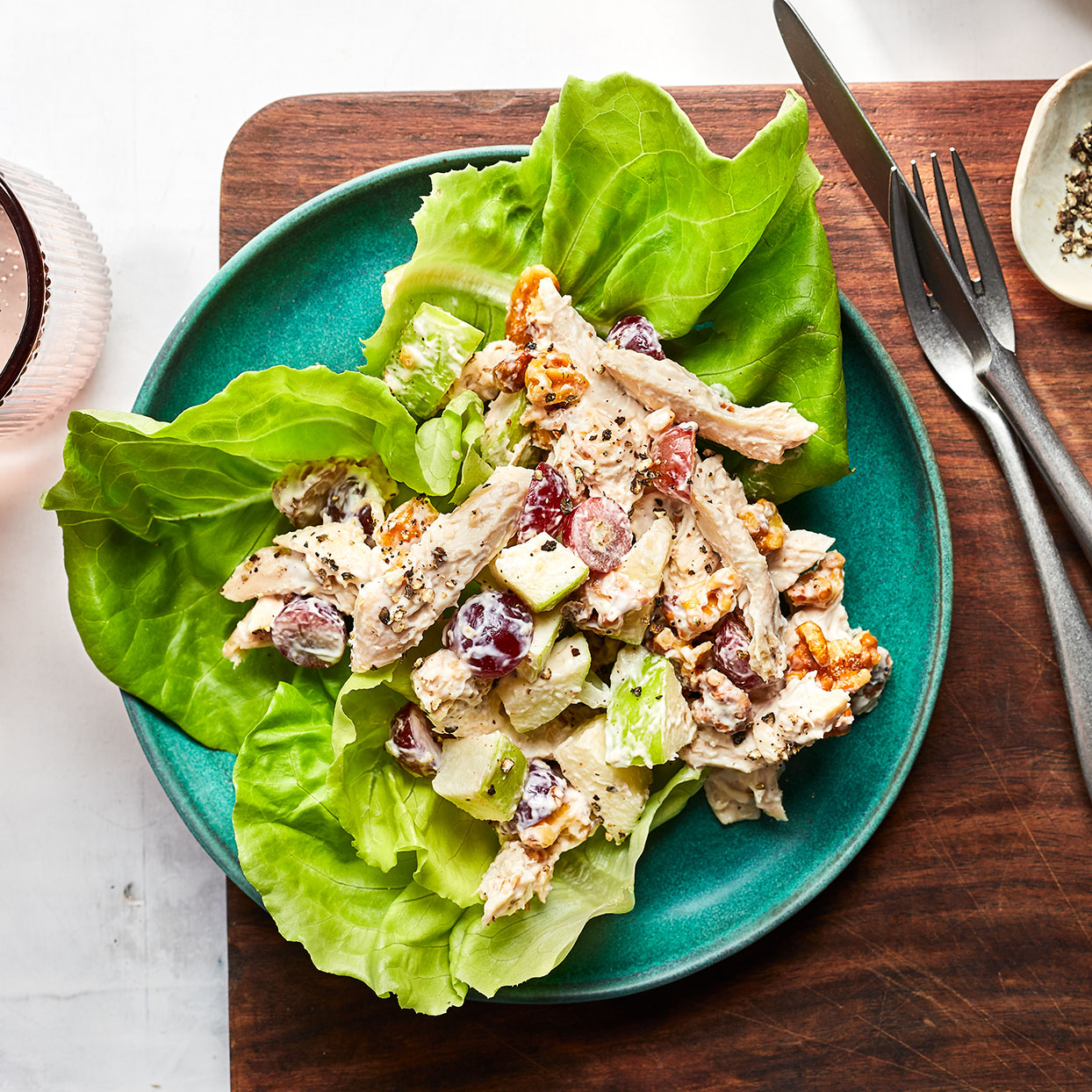 Try this crunchy, healthy salad recipe anytime you have leftover turkey or chicken. It makes a great lunch served on a bed of delicate butterhead lettuce leaves.