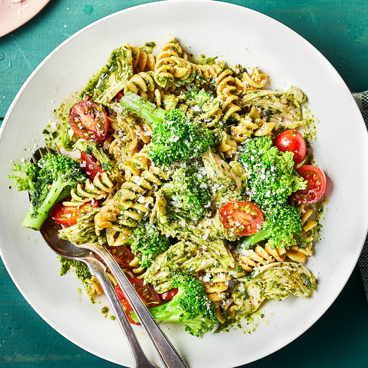 This easy pasta recipe is a weeknight dinner lifesaver. While shelf-stable pesto will work here, we prefer the fresh flavor and more vibrant color of refrigerated pesto. Look for it in the refrigerated section of your supermarket, near the fresh pasta and marinara sauce.